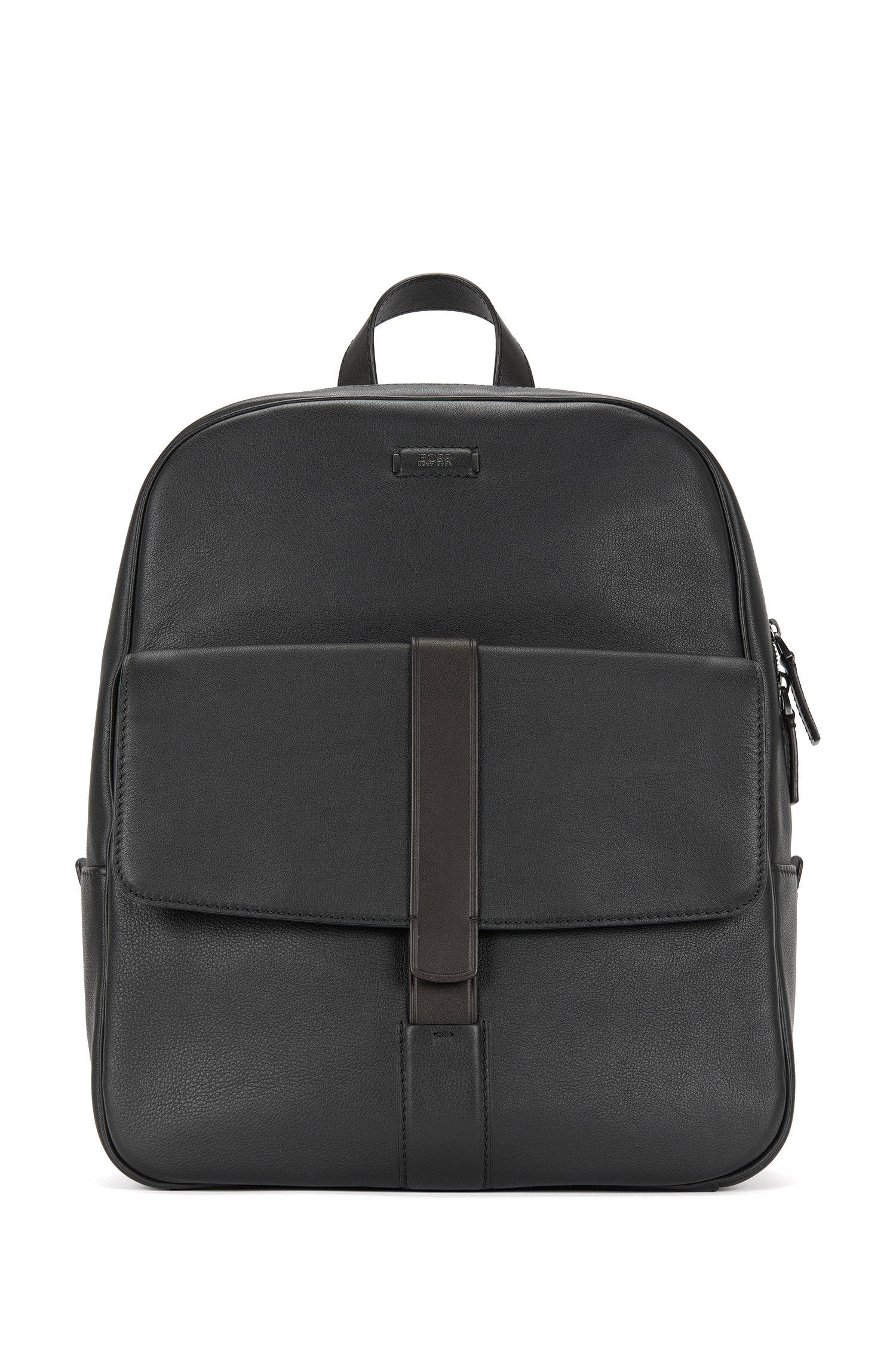 Sac à dos en cuir avec poche sur le devant: «Jackson_Backpack»