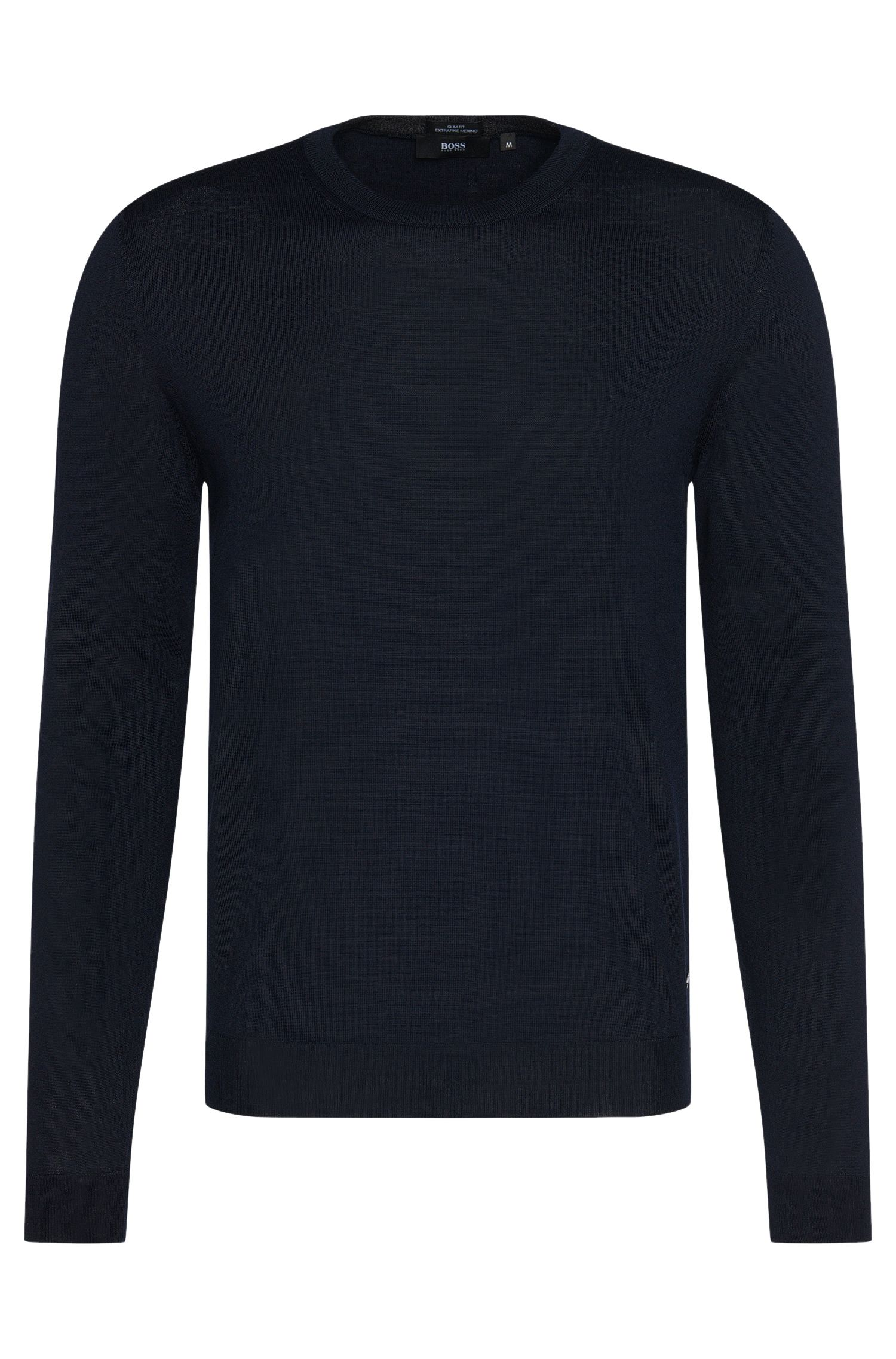 Slim-fit sweater in pure new wool: 'Leno-B'