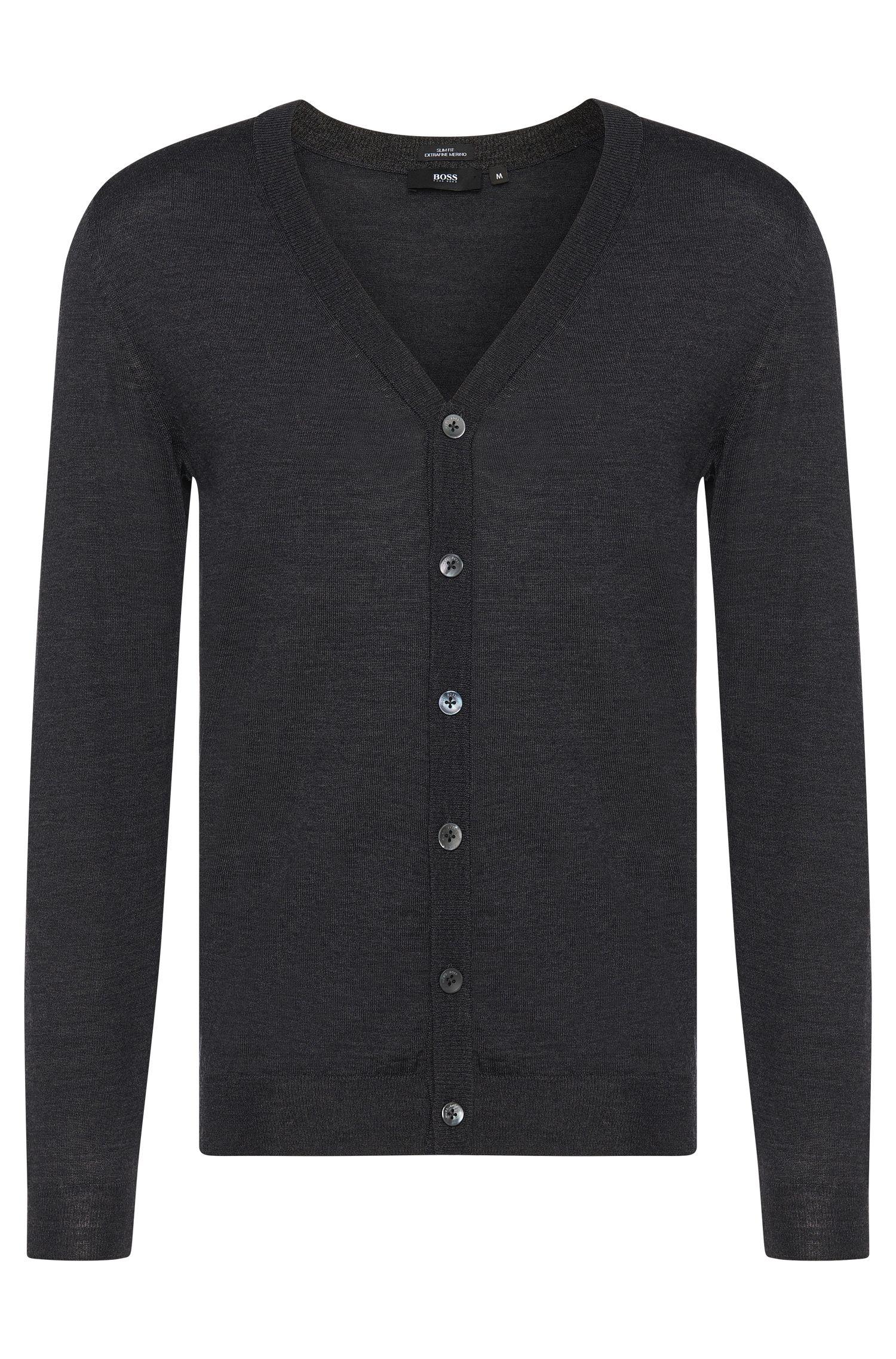 Veste en maille de laine vierge Slim Fit avec une patte de boutonnage: «Mardon-B»