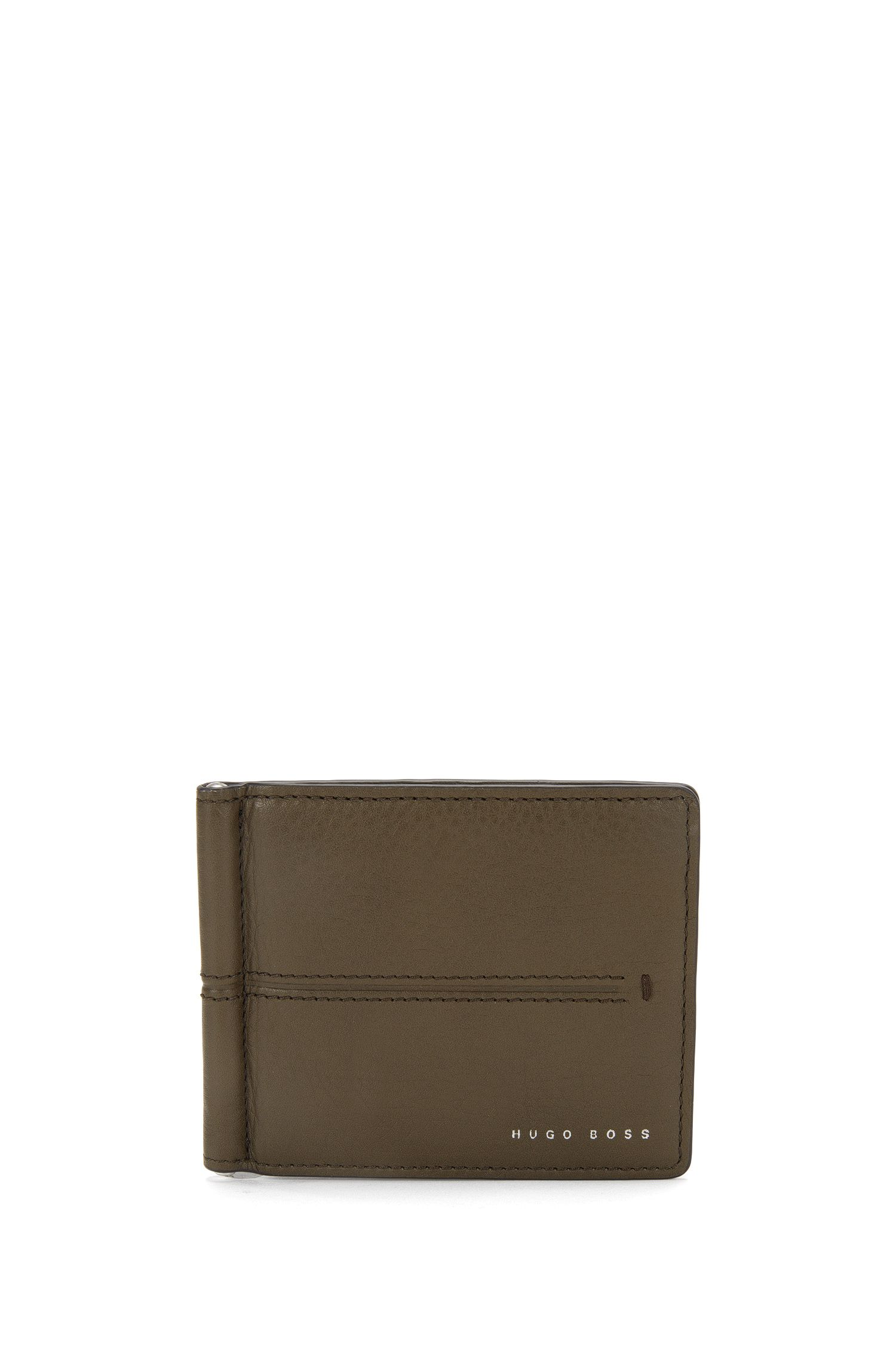 Leather wallet with money clip: 'Elite_6 cc clip'