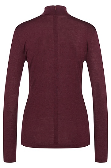 Long-sleeved shirt in wool blend with band collar: 'Ninela', Open Purple