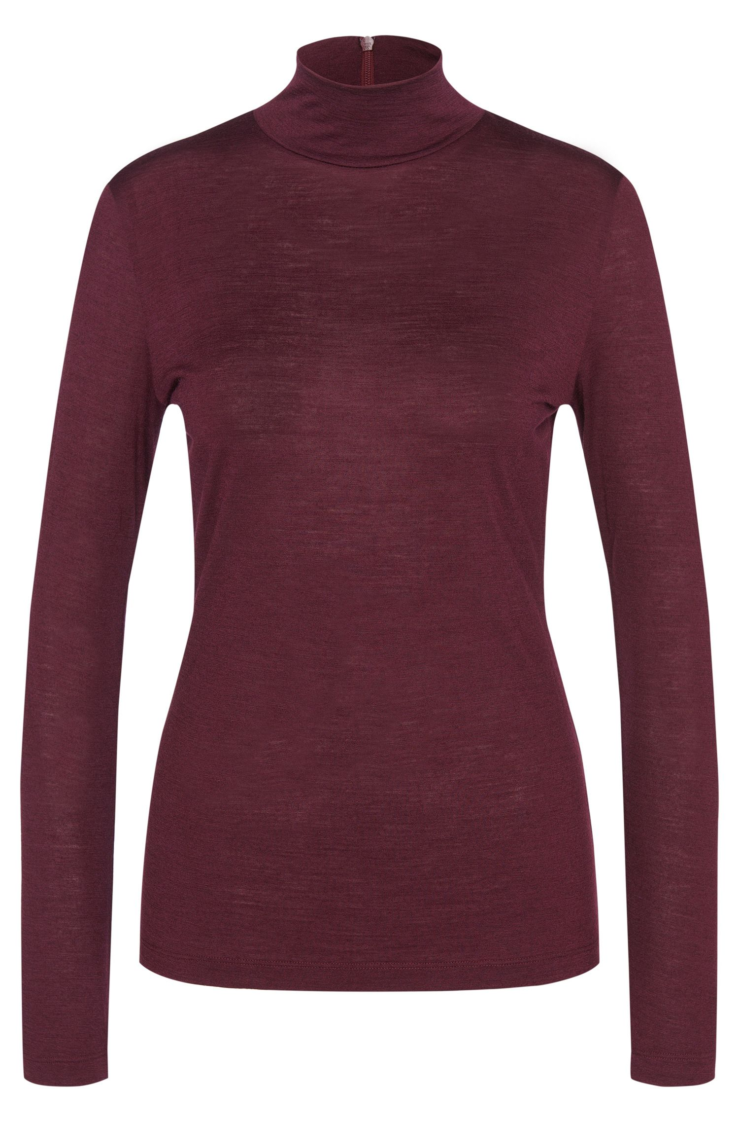 Long-sleeved shirt in wool blend with band collar: 'Ninela'