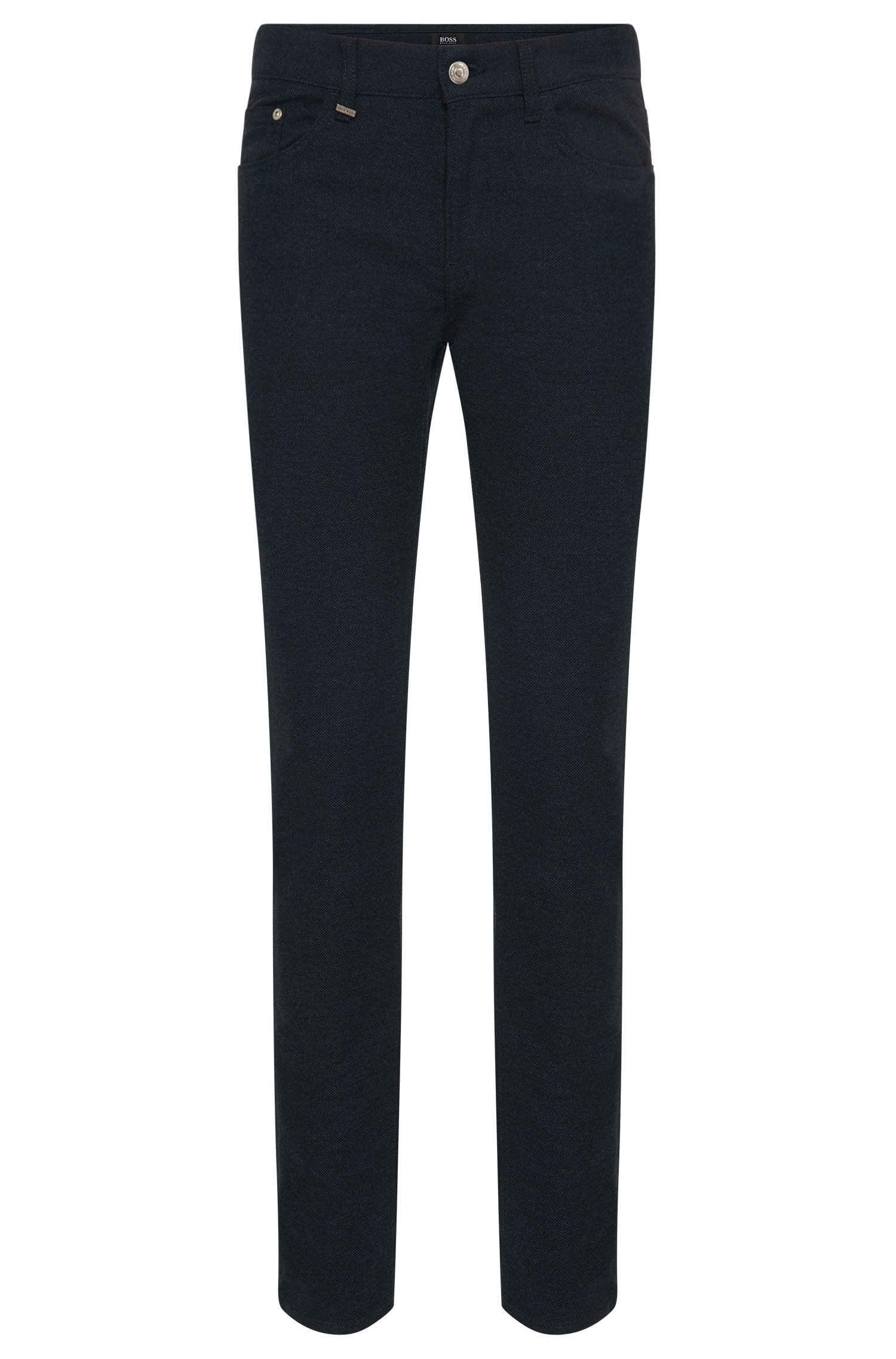 Fein gemusterte Slim-Fit Hose aus elastischem Baumwoll-Mix: 'Delaware4-20'