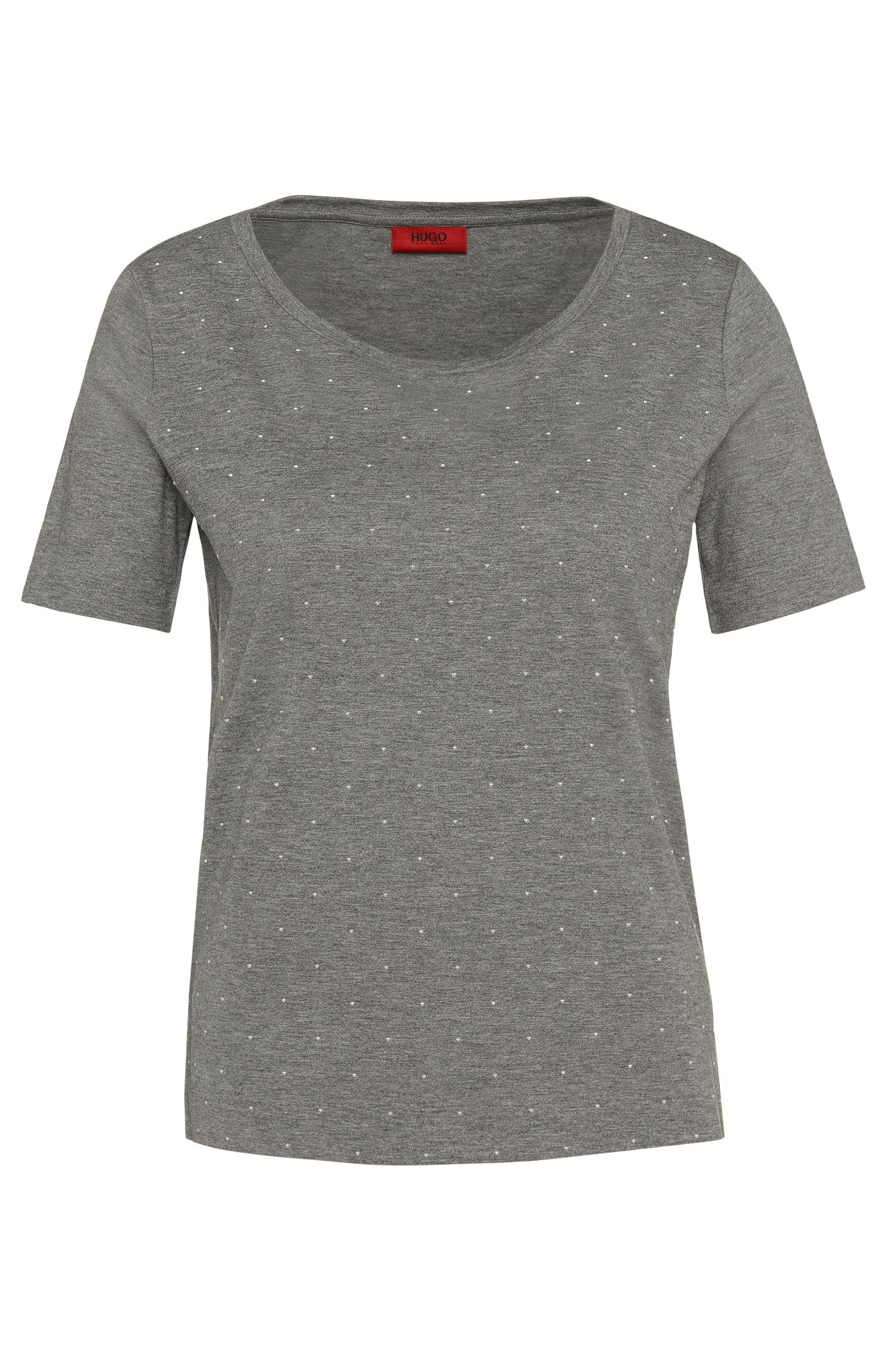 Cotton-blend t-shirt with silver-coloured studs: 'Nastina'