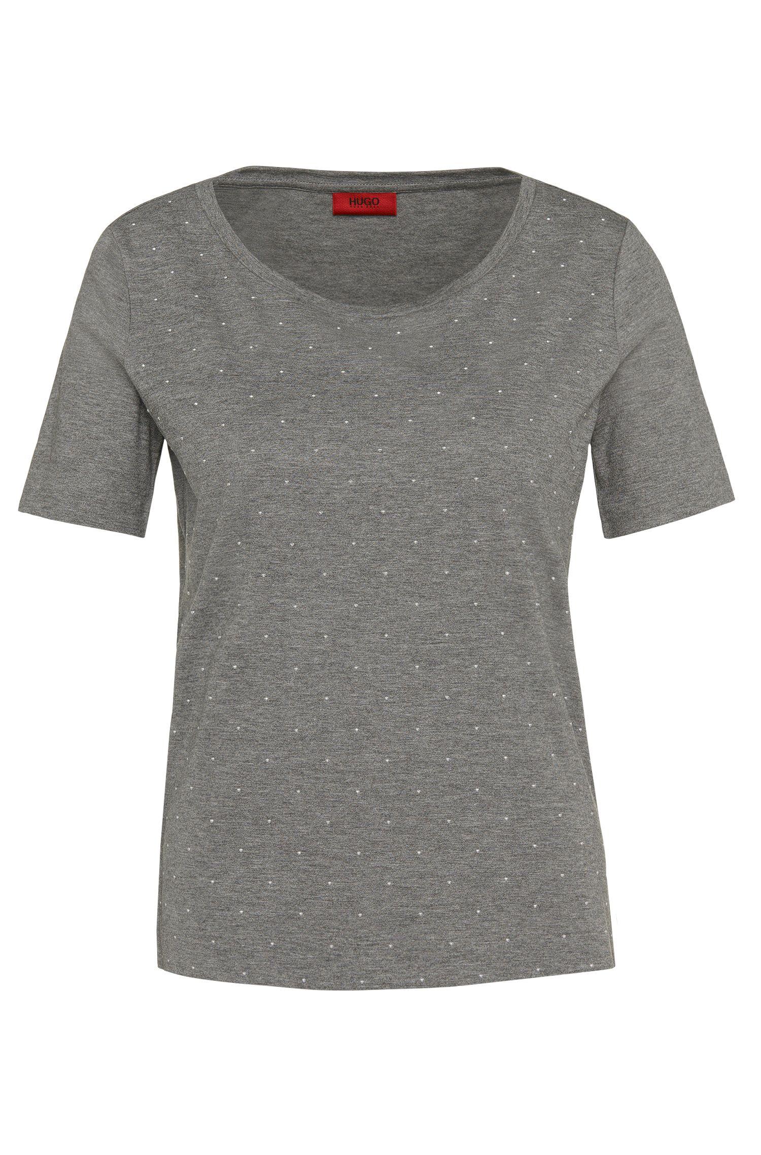 T-shirt en coton mélangé à rivets argentés: «Nastina»