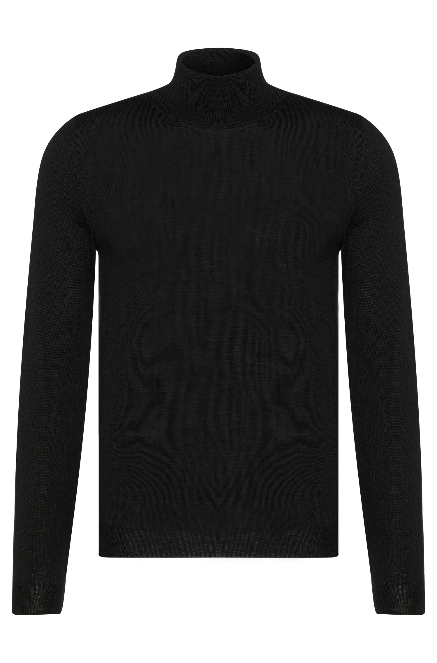 Slim-fit polo neck sweater in new wool: 'Musso-B'