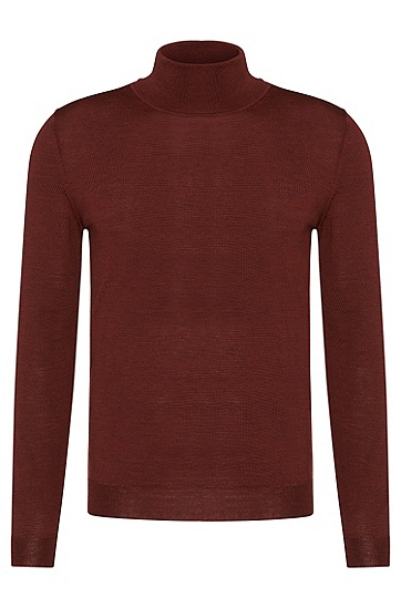 Slim-fit polo neck sweater in new wool: 'Musso-B', Brown