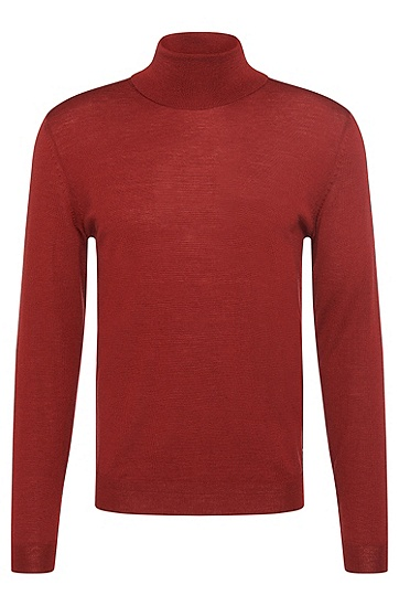 Slim-fit polo neck sweater in new wool: 'Musso-B', Red