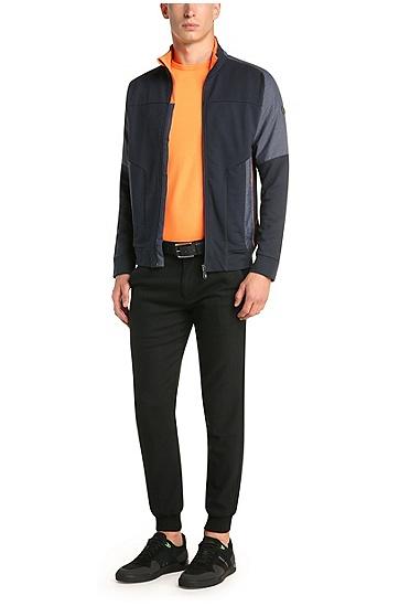 Regular-Fit Sweatshirt-Jacke aus Baumwolle mit Kontrast-Besatz: ´Skavon`, Dunkelblau