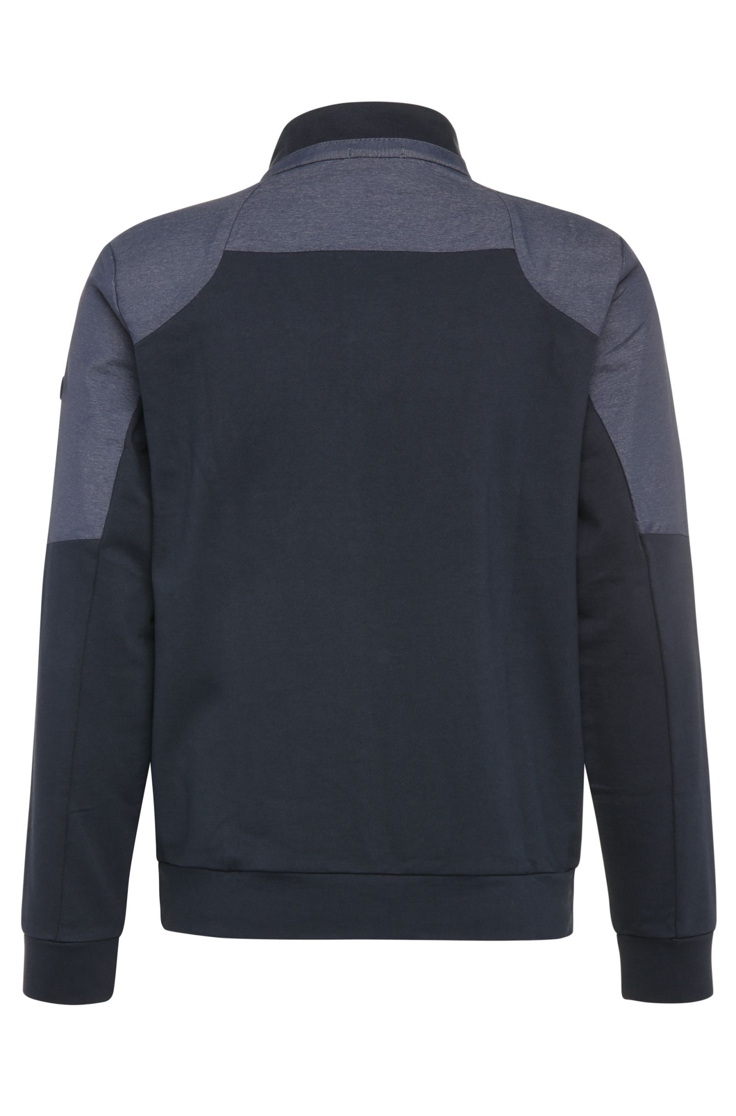 Blouson sweat Regular Fit en coton avec empiècement contrastant : « Skavon »