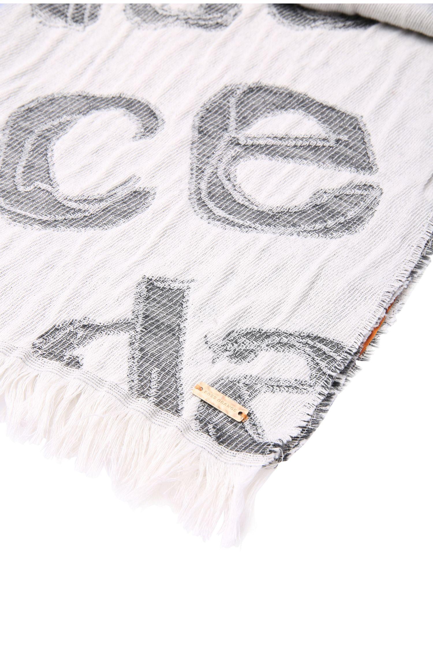 Sjaal met print, van een materiaalmix met katoen en wol: 'Naprinta'
