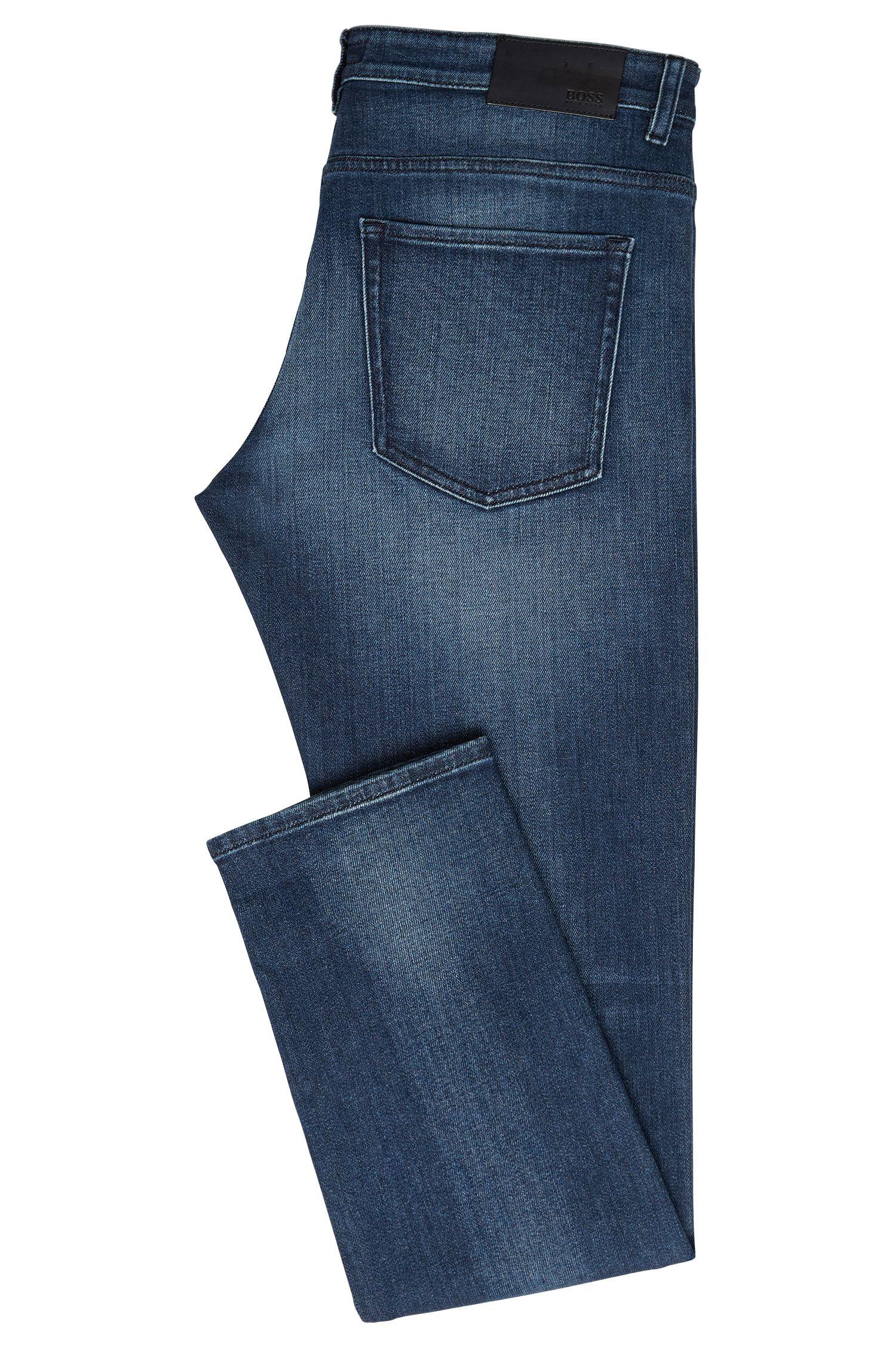 Slim-fit jeans van elastische katoen met used-wassingen: 'Delaware3-1'