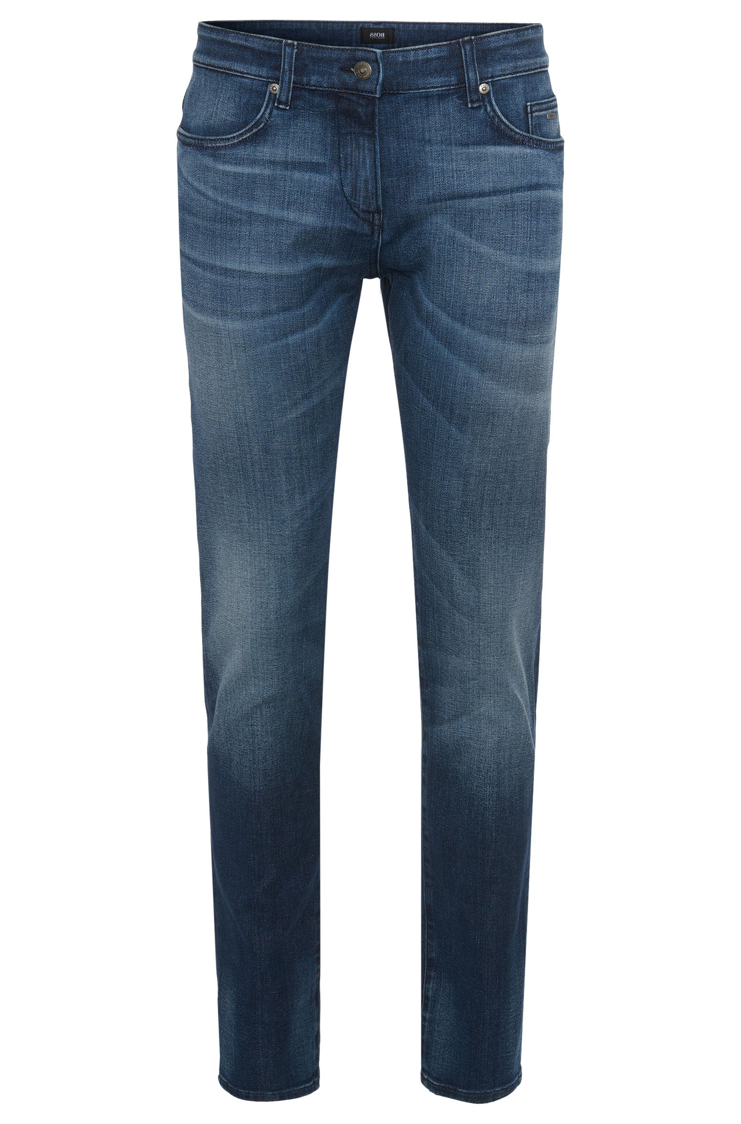 Slim-fit jeans in stretch cotton with used washes: 'Delaware3-1'