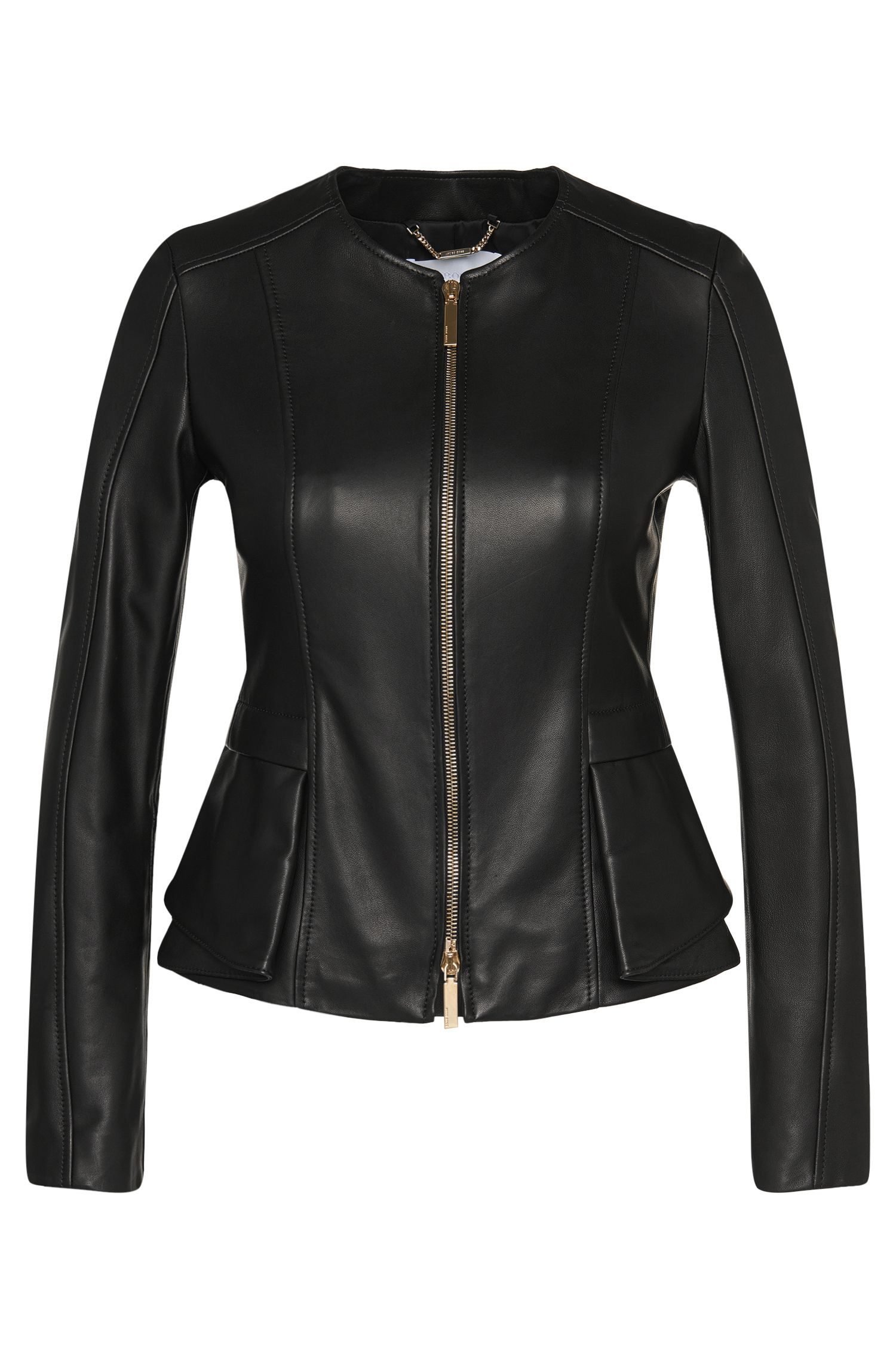 Fitted leather jacket with peplum detail: 'Sarimy'