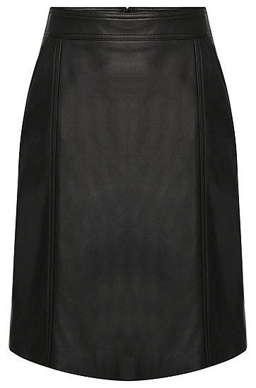 Leather skirt with a slightly flared fit: 'Sepai', Black