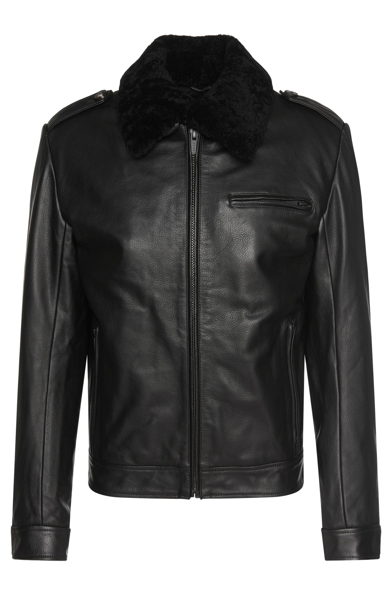 Lined leather jacket with lambskin collar: 'Lenko'