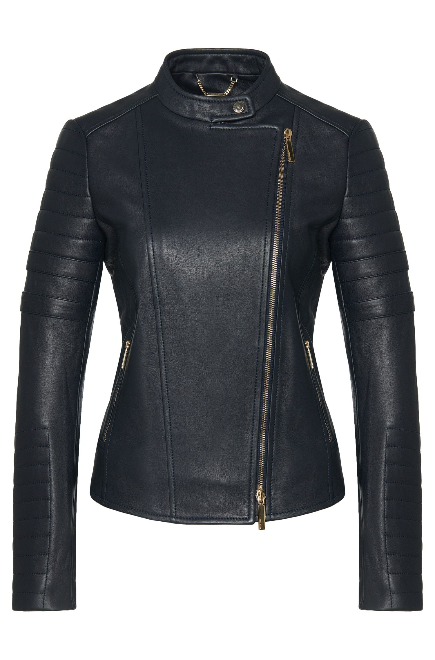 Finely grained biker-style leather jacket: 'Sahena'