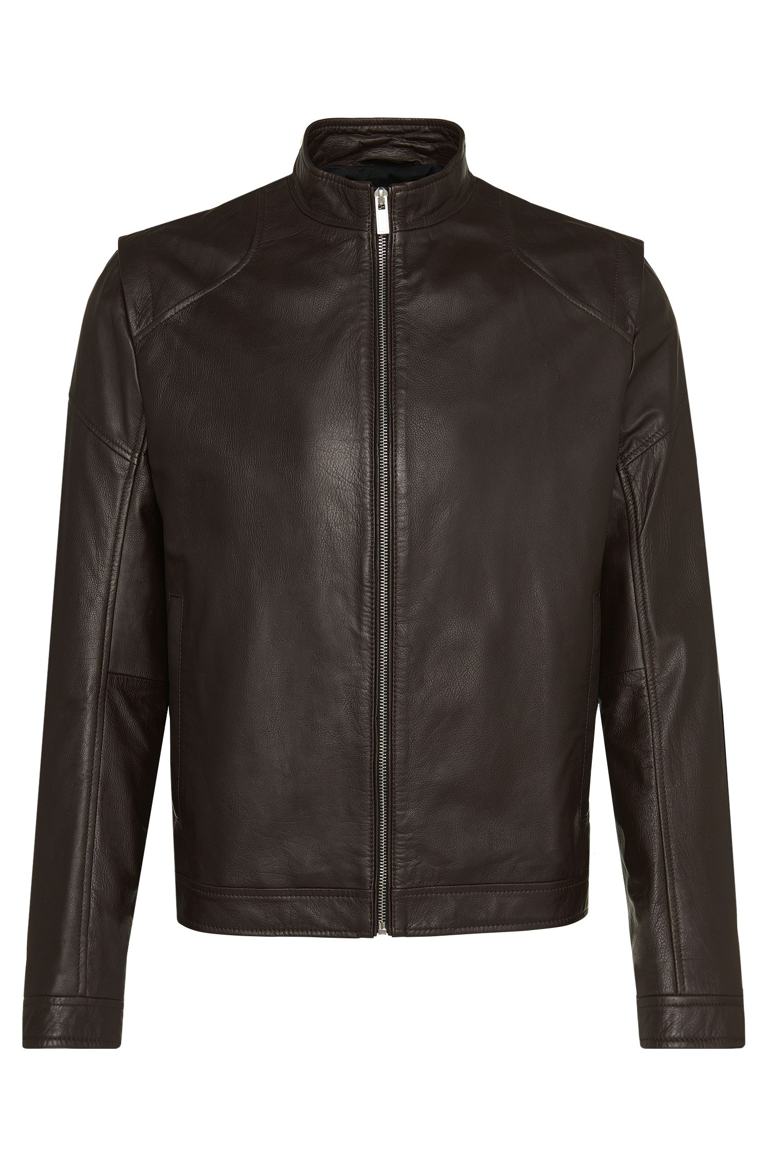 Slim-fit leren jas in bikerstijl: 'Lesson1'