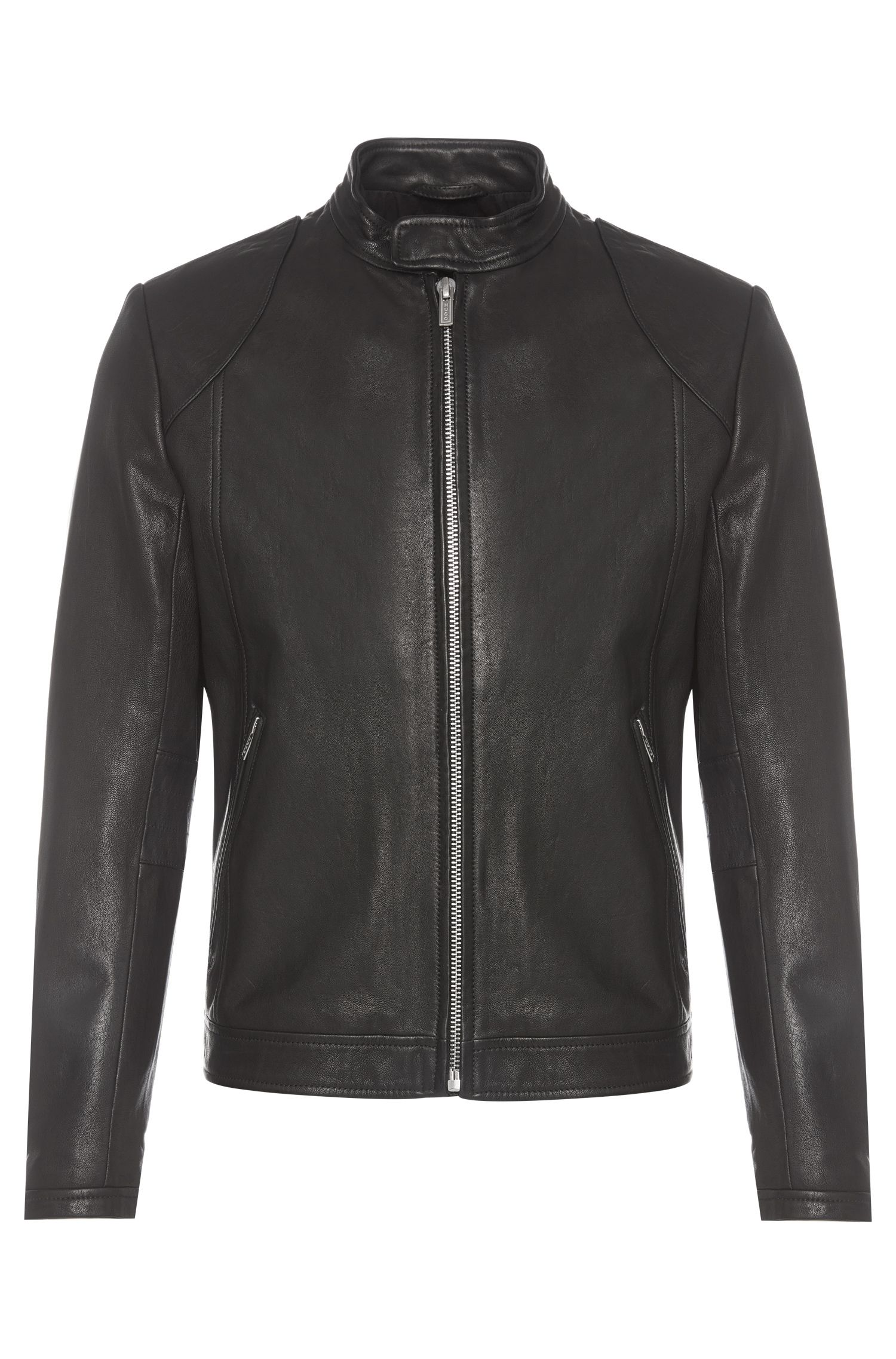 Slim-fit leather jacket in biker style: 'Lator'