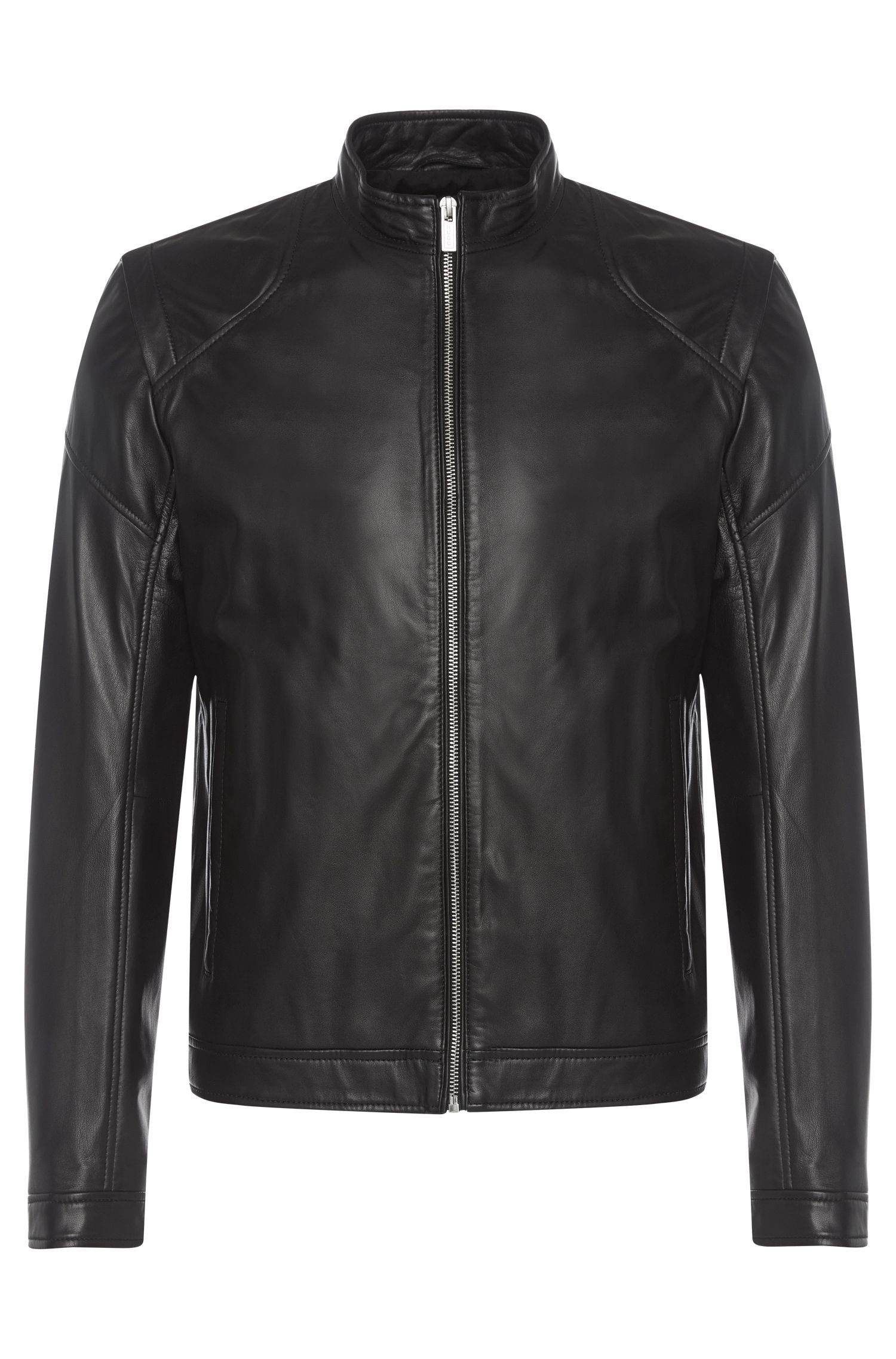 Slim-fit leren jas in bikerstijl: 'Lesson'