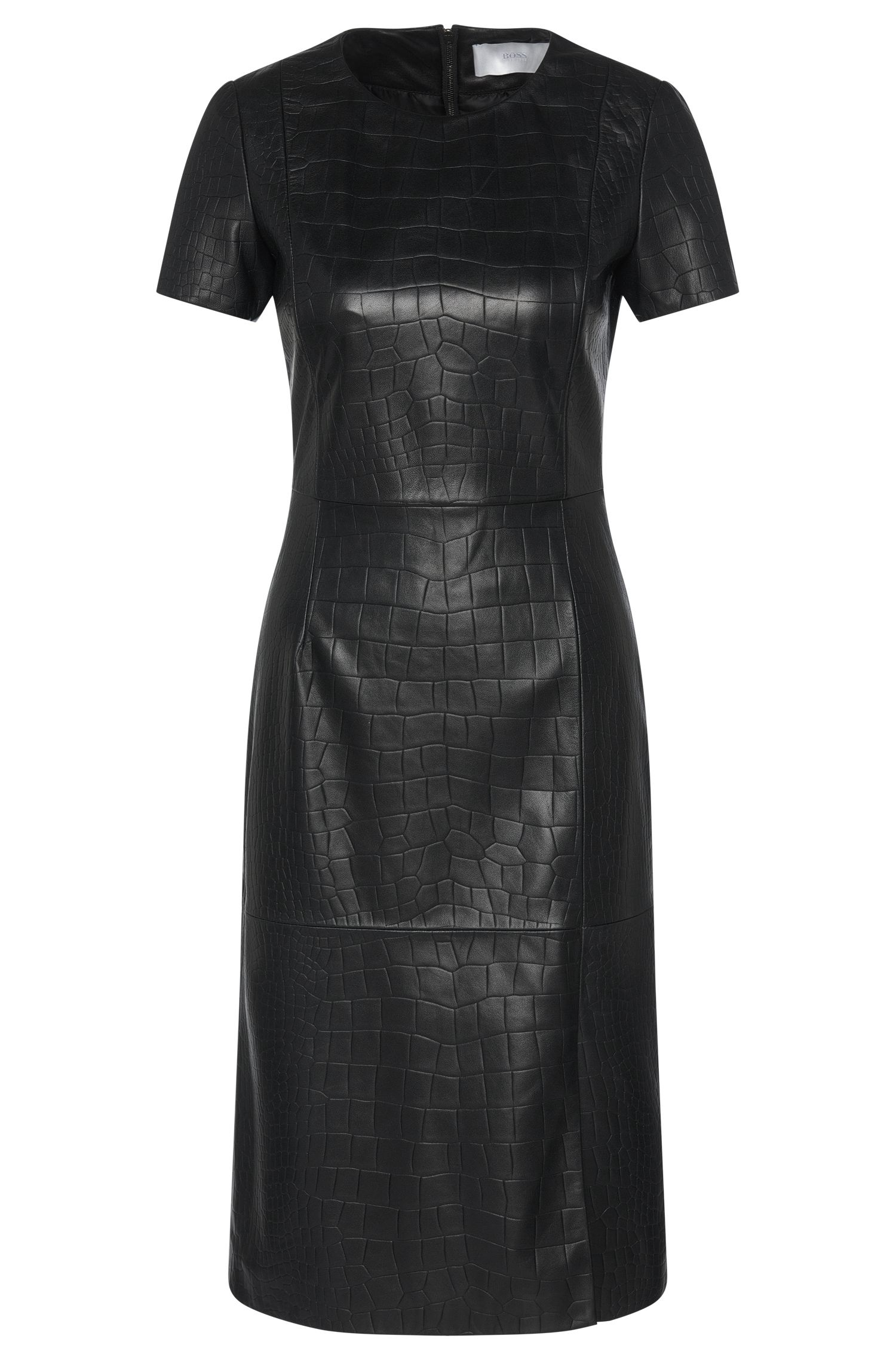 Leather dress with textured embossing: 'Syzilia'