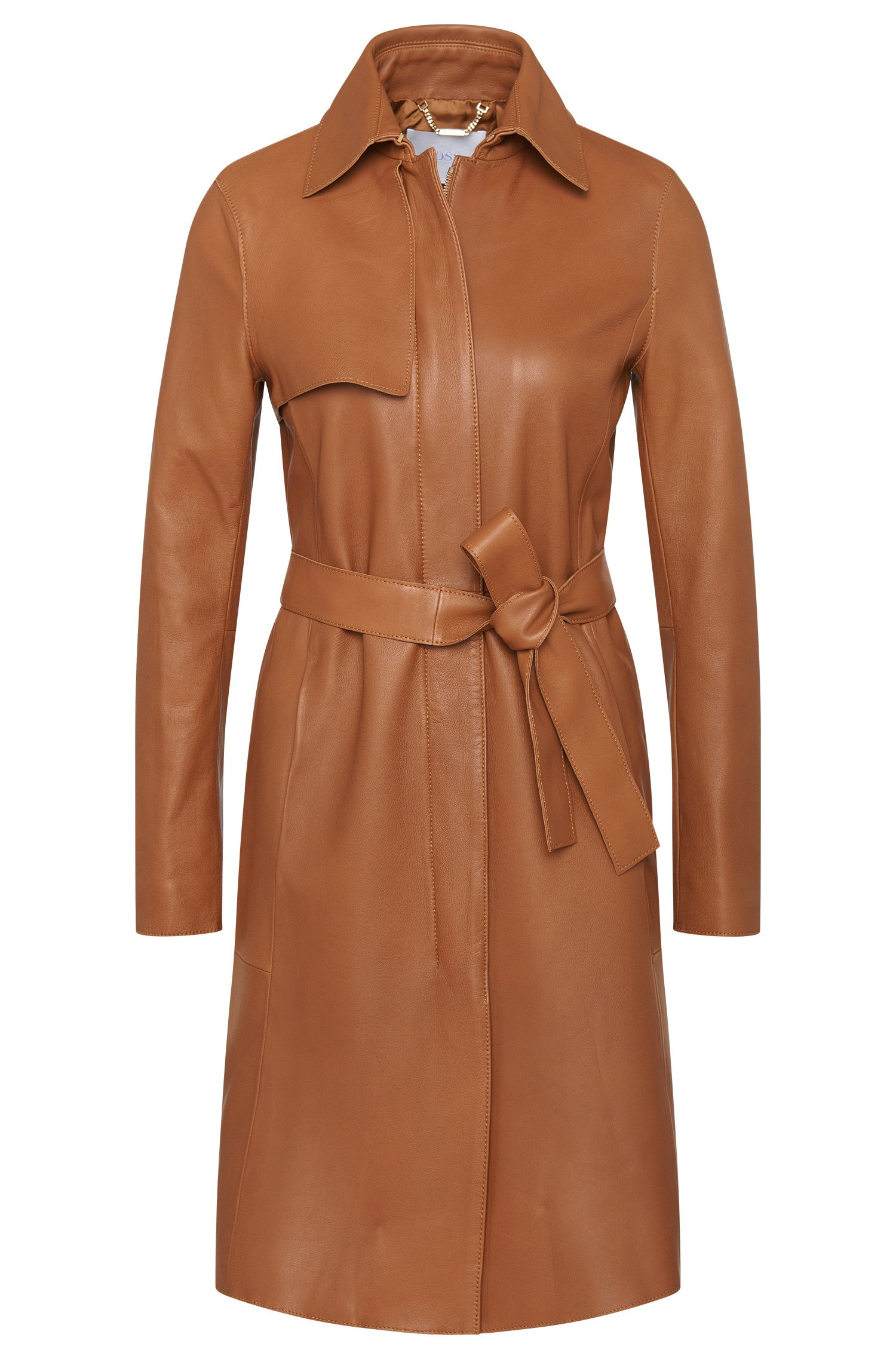 Leather coat with front yoke: 'Sozza'