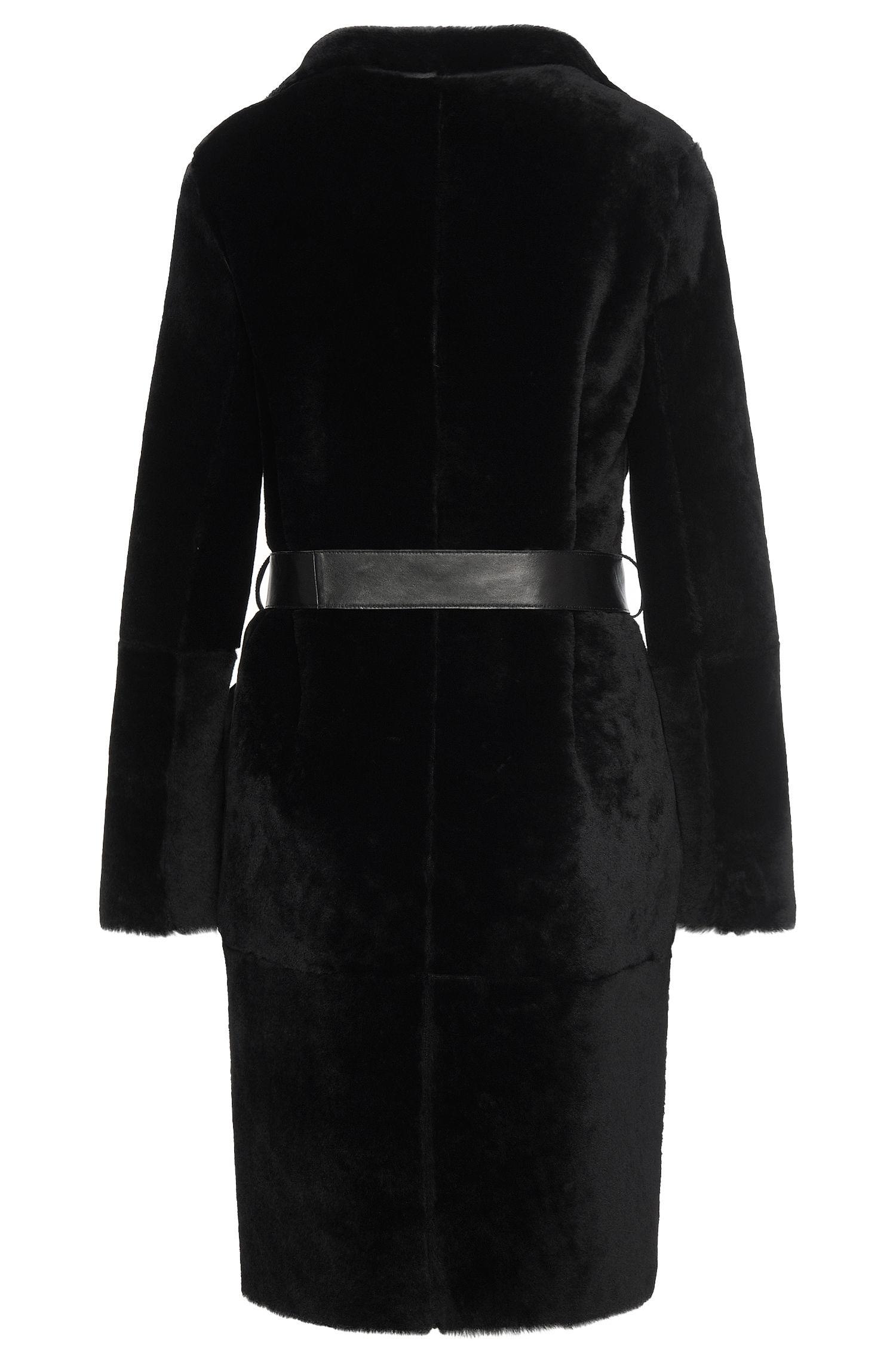 Manteau en cuir avec garniture en fourrure d'agneau: «Sotika»