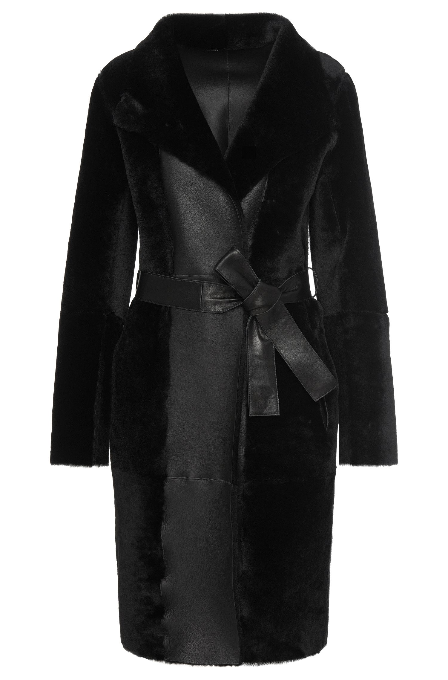 Leather coat with lambskin trim: 'Sotika'