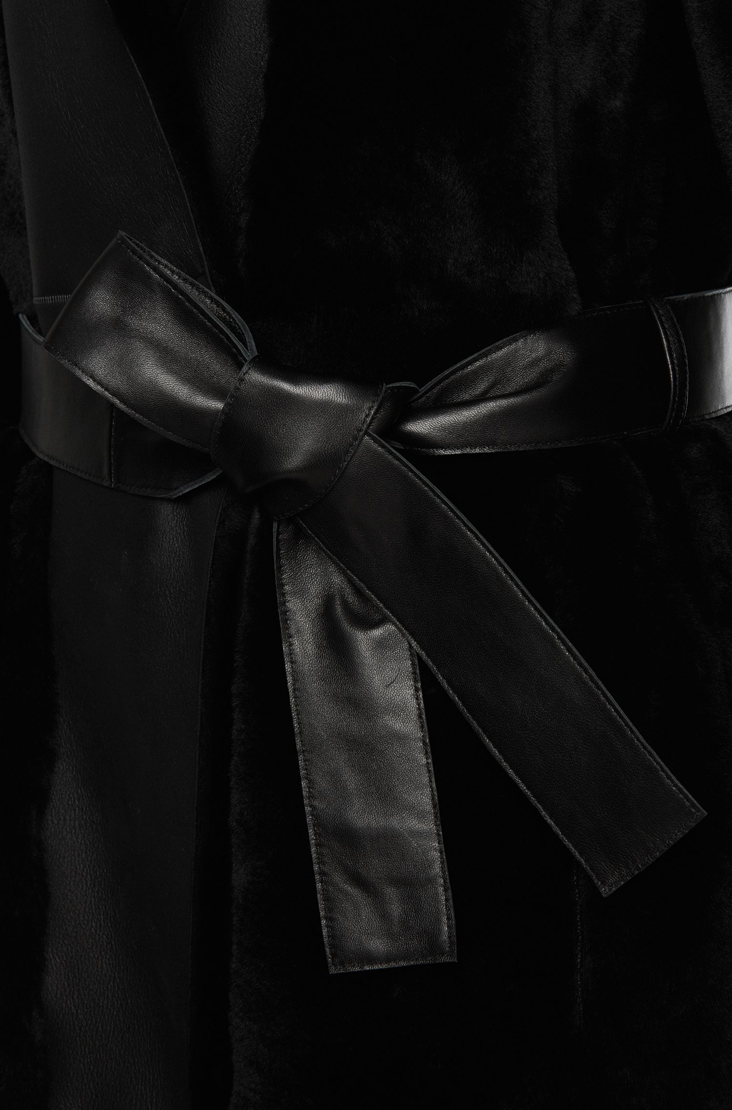 Leren mantel met lamsvelbeleg: 'Sotika'
