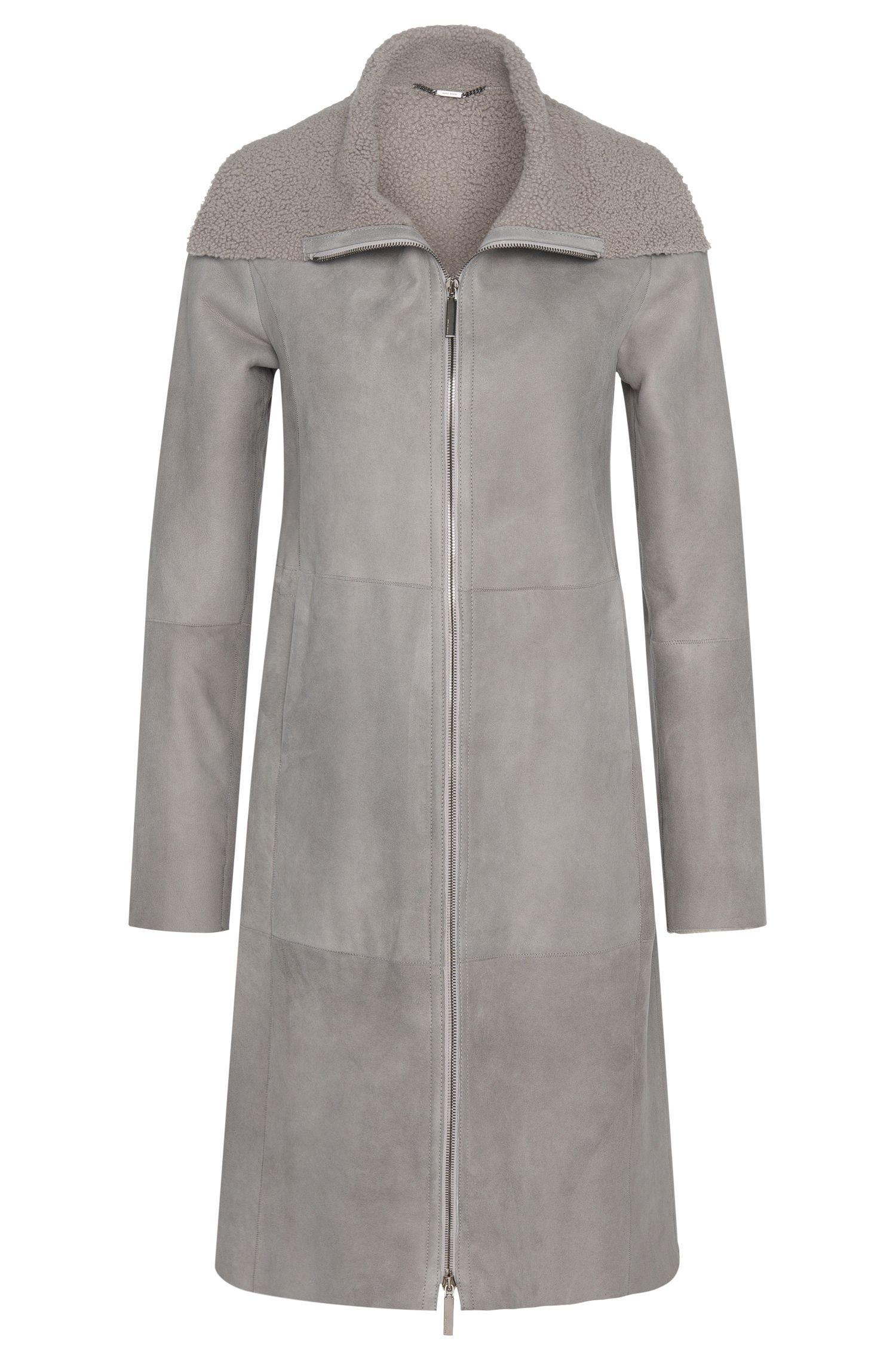 Manteau de cuir avec doublure en fourrure d'agneau: «Soufy»