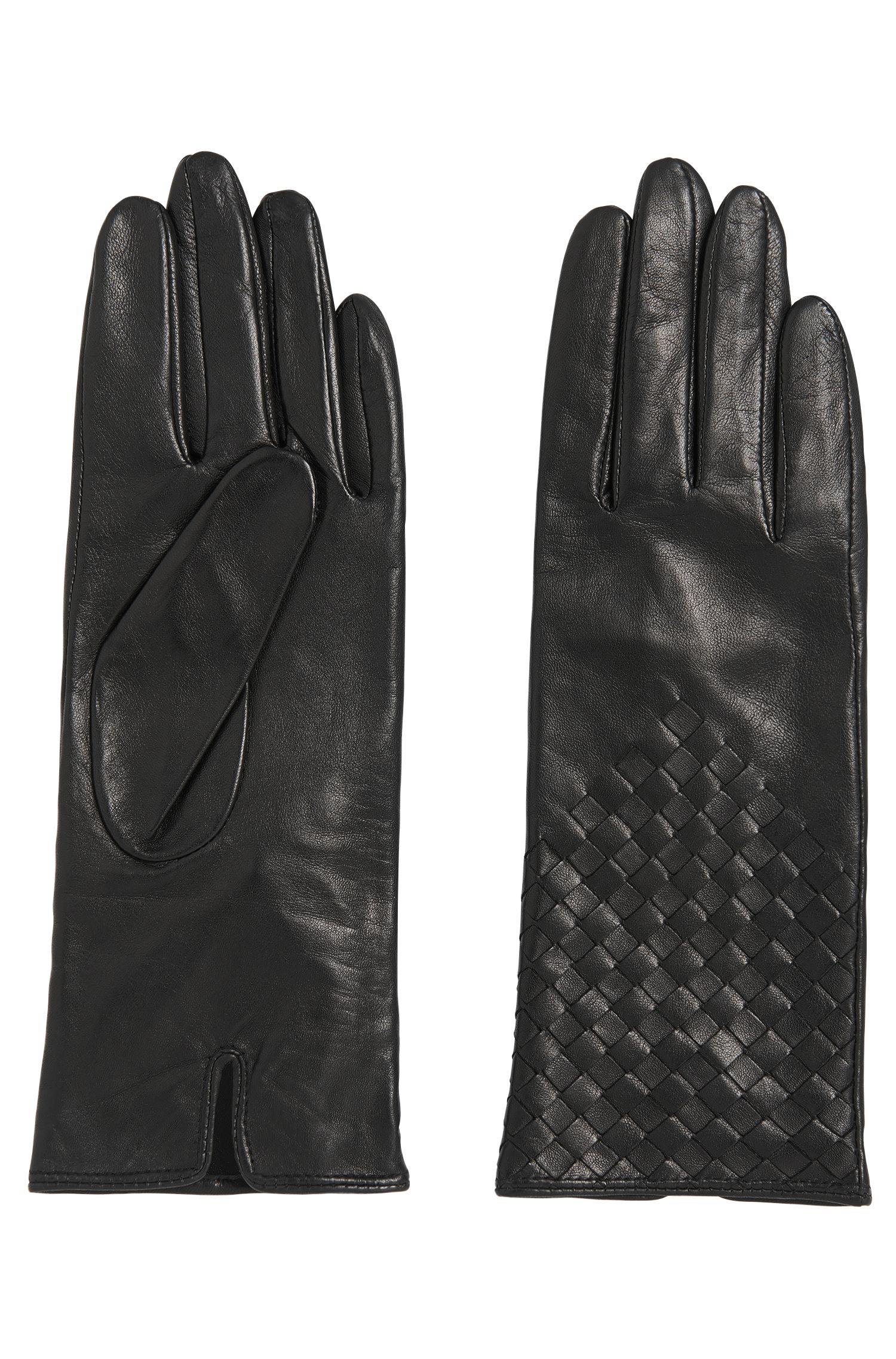 Leather gloves with braided details: 'Goory'