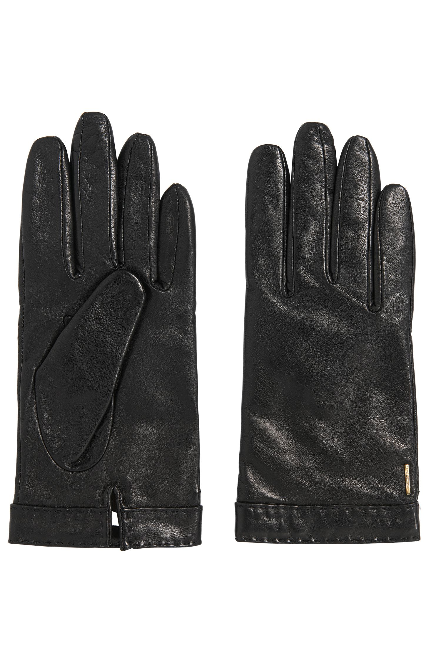 Leather gloves with topstitched hem: 'Garuni'