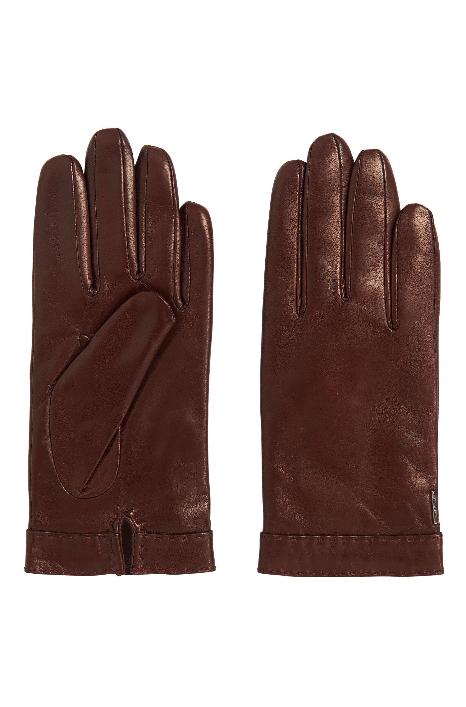 Leren handschoenen met afgestikte zoom: 'Garuni'