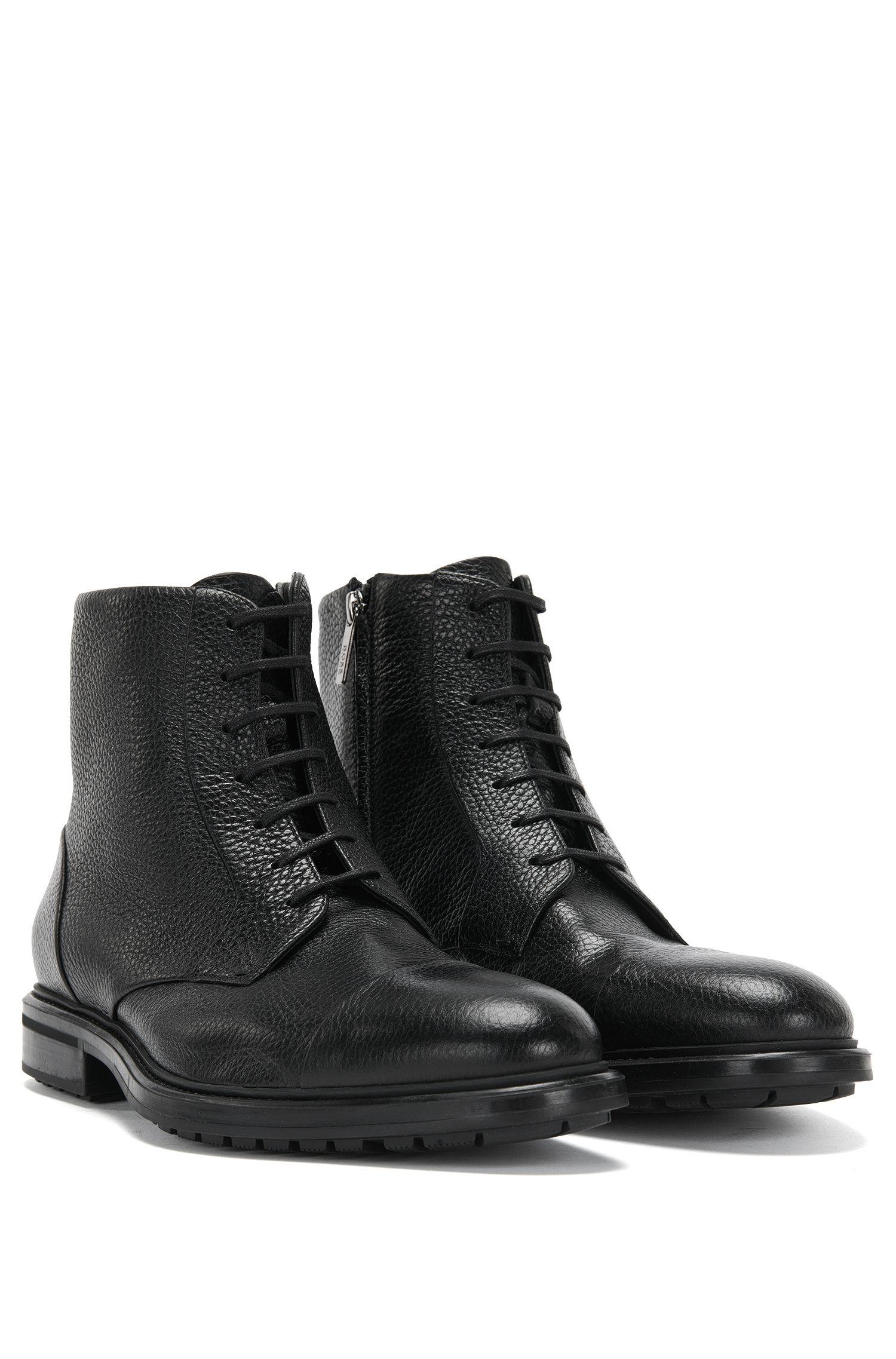 Halbhohe Stiefel aus Leder mit warmem Innenfutter: 'Warsaw_Halb_grct'