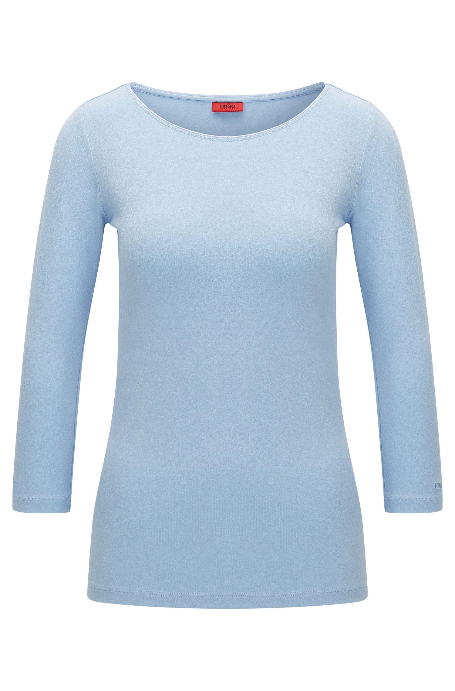 Camiseta de punto sencillo slim fit con cuello barco de HUGO Mujer