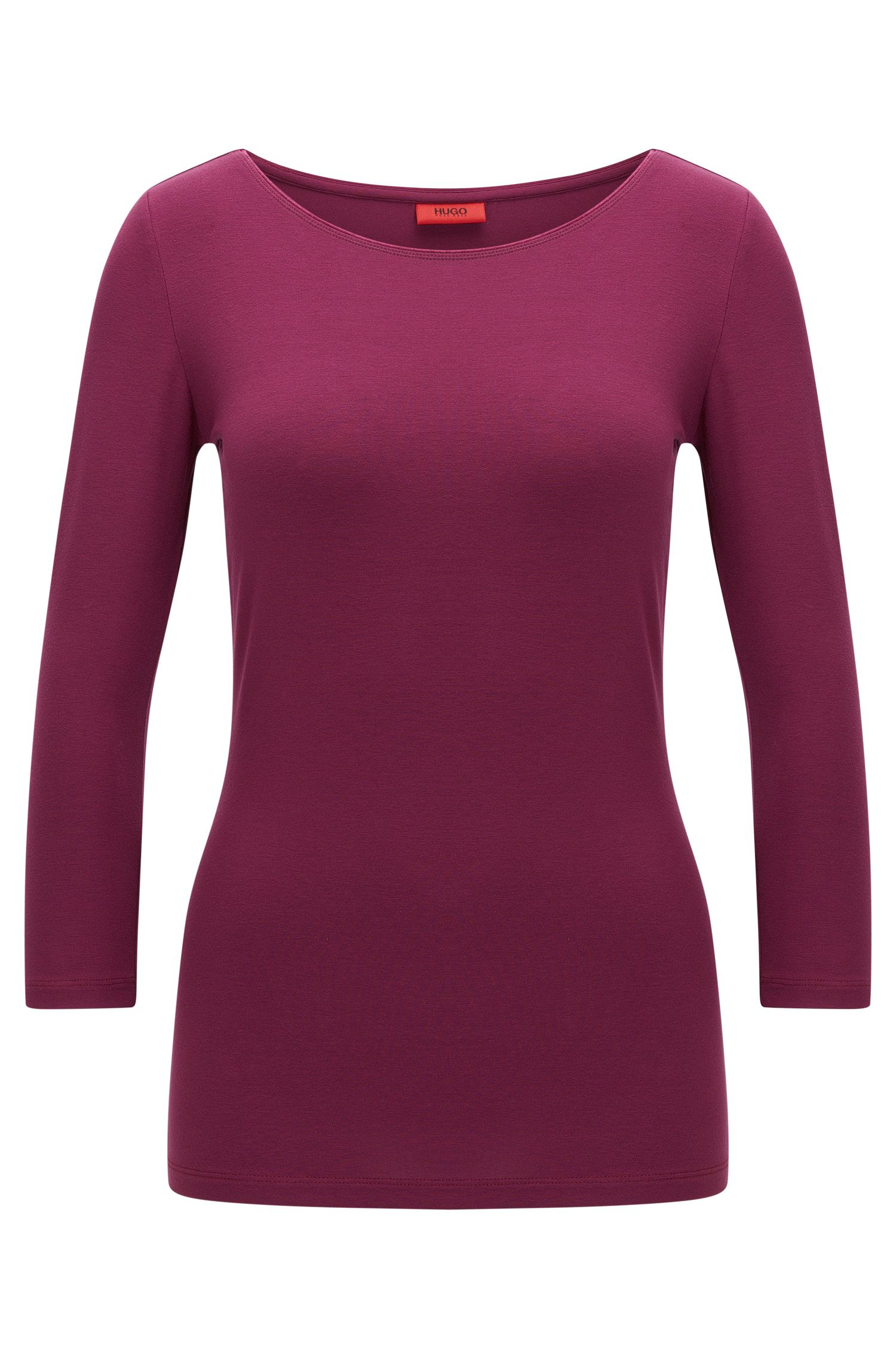 Slim-fit single jersey T-shirt with boat neckline by HUGO Woman