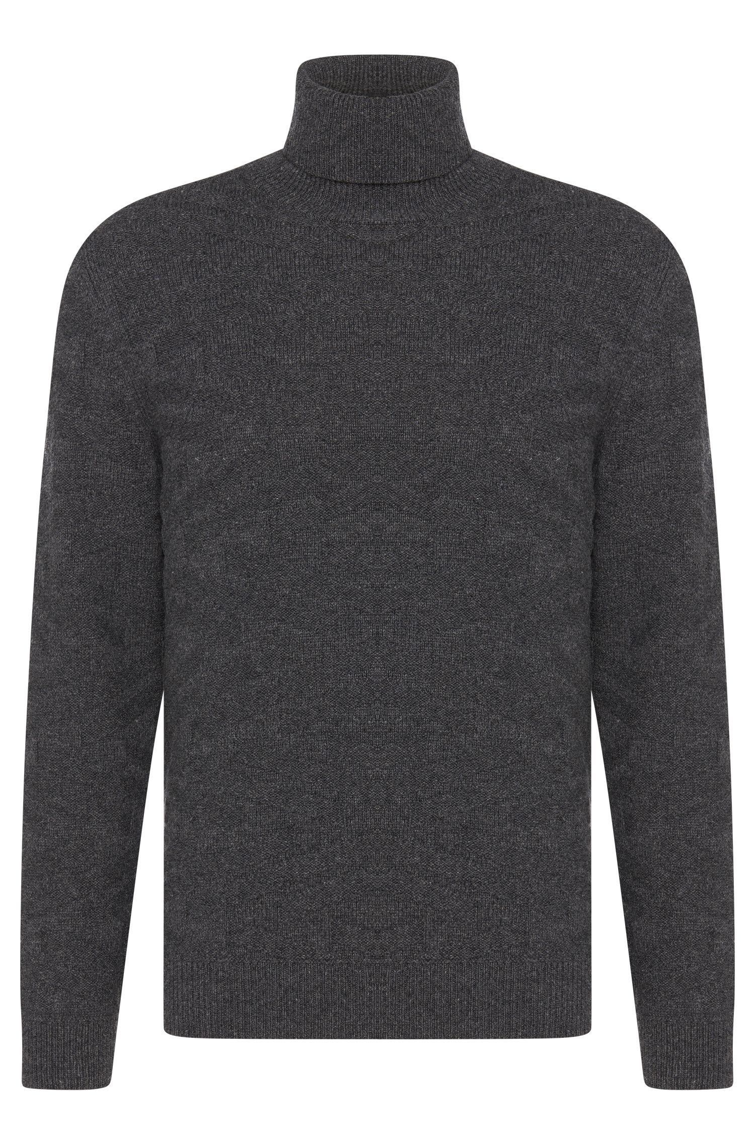Regular-fit polo neck sweater in a new-wool blend with cashmere: 'Bertuzzi'