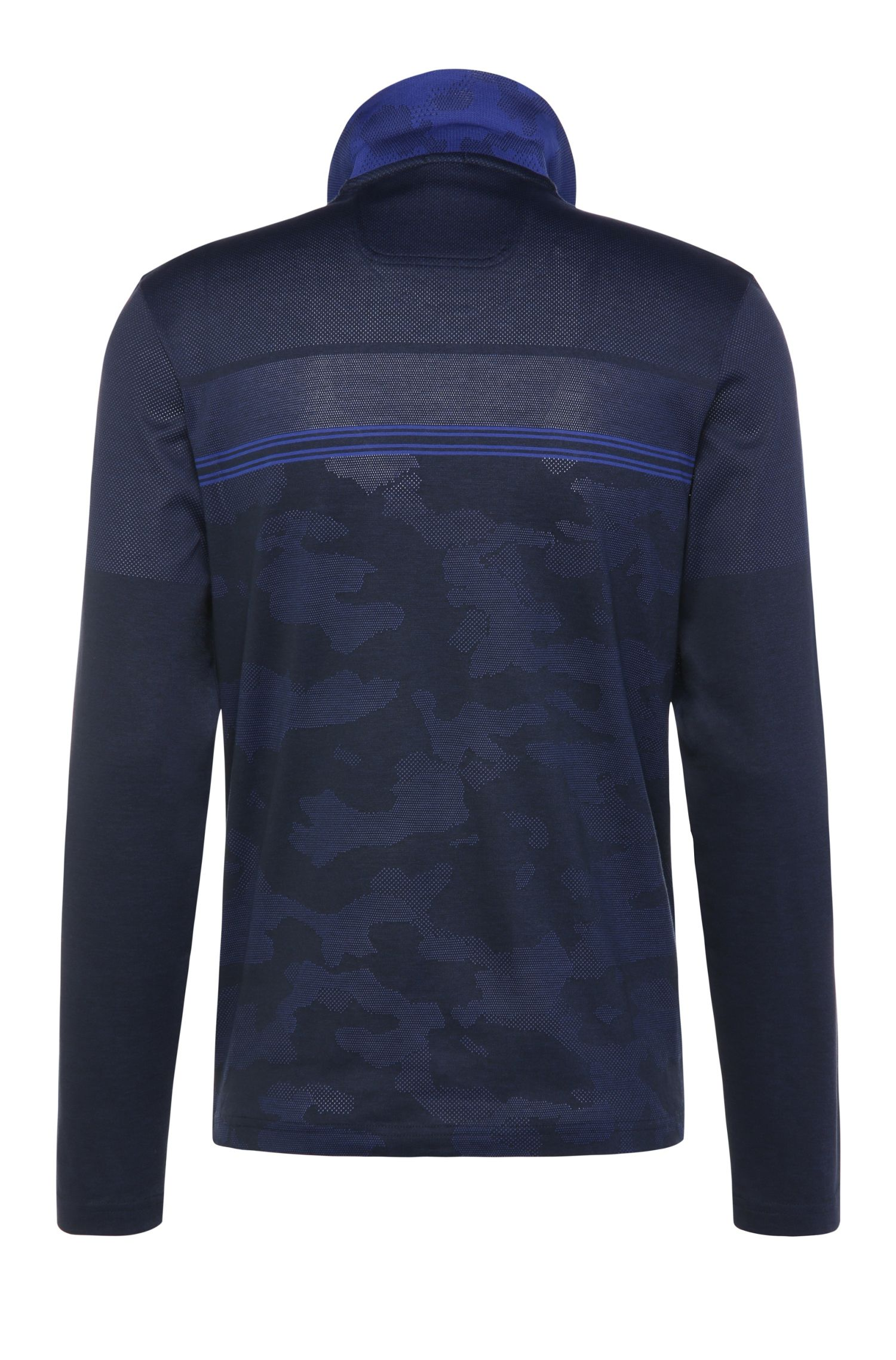 Gemustertes Regular-Fit Langarm-Poloshirt aus Baumwoll-Mix: ´Plisy 2`