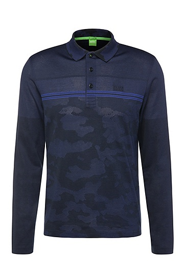 Gemustertes Regular-Fit Langarm-Poloshirt aus Baumwoll-Mix: ´Plisy 2`, Dunkelblau