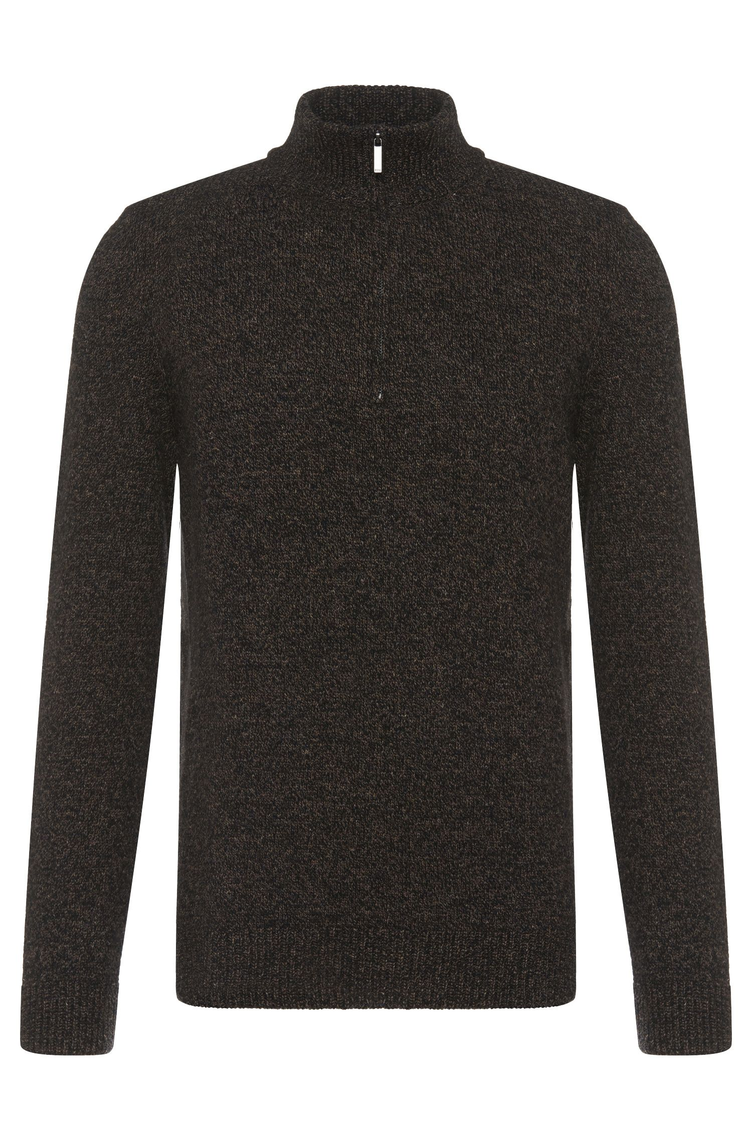 Gemêleerde regular-fit trui van een wolmix met linnen: 'Belmonte'
