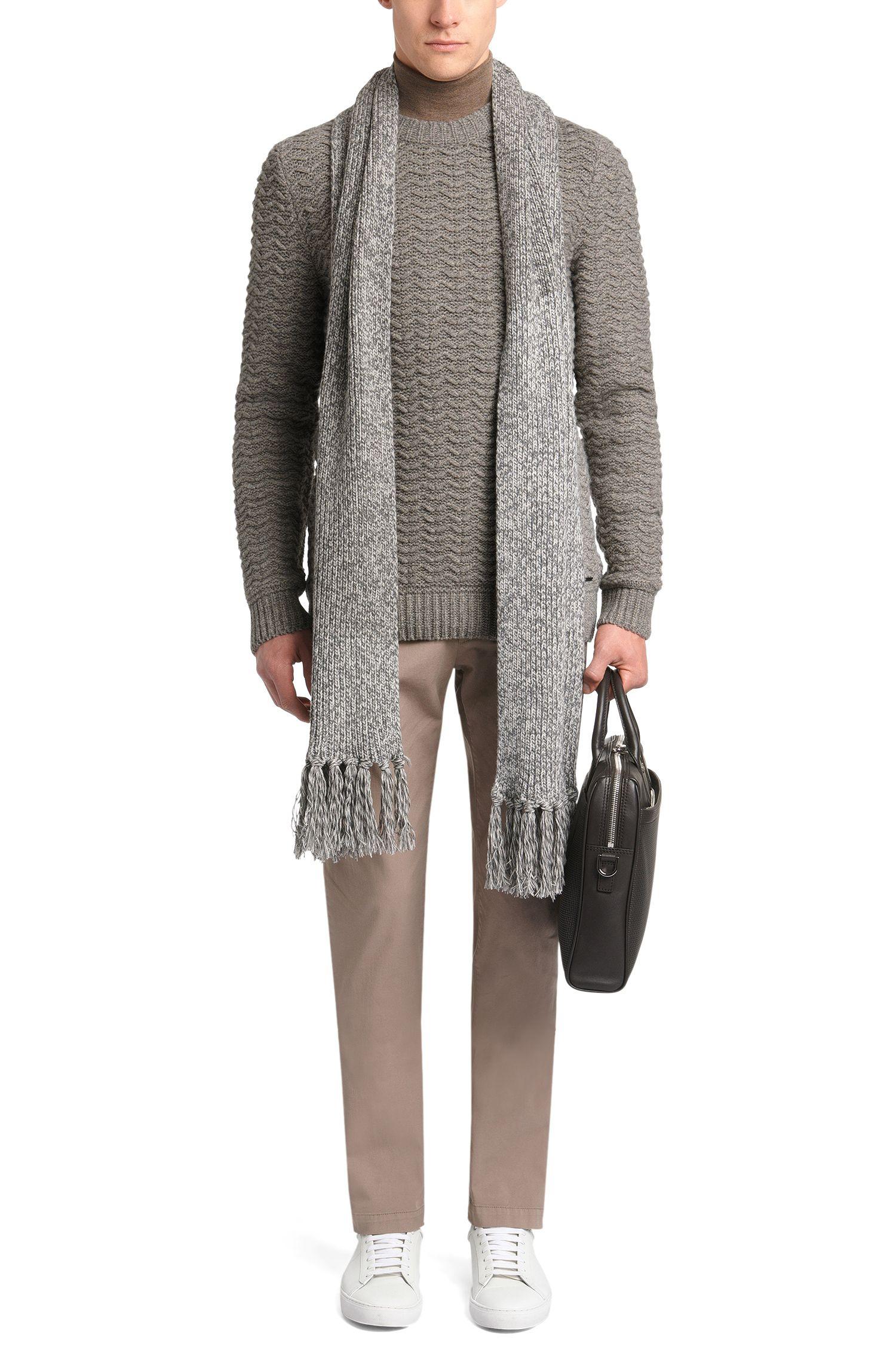 Pull Regular Fit en laine mélangée extensible avec du lin: «Bellino»