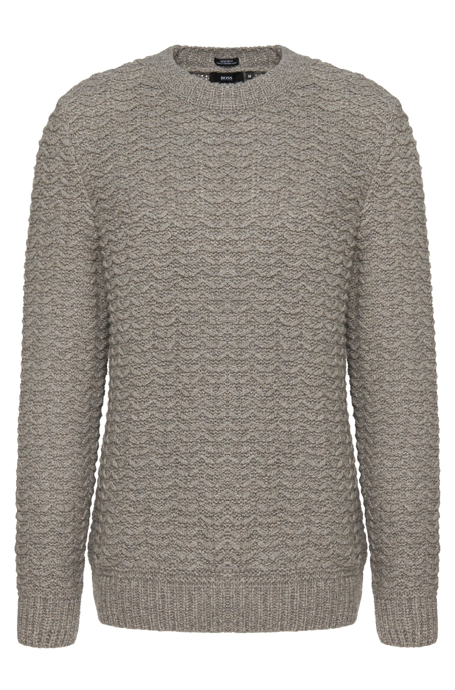 Regular-fit sweater in stretchy wool blend with linen: 'Bellino'