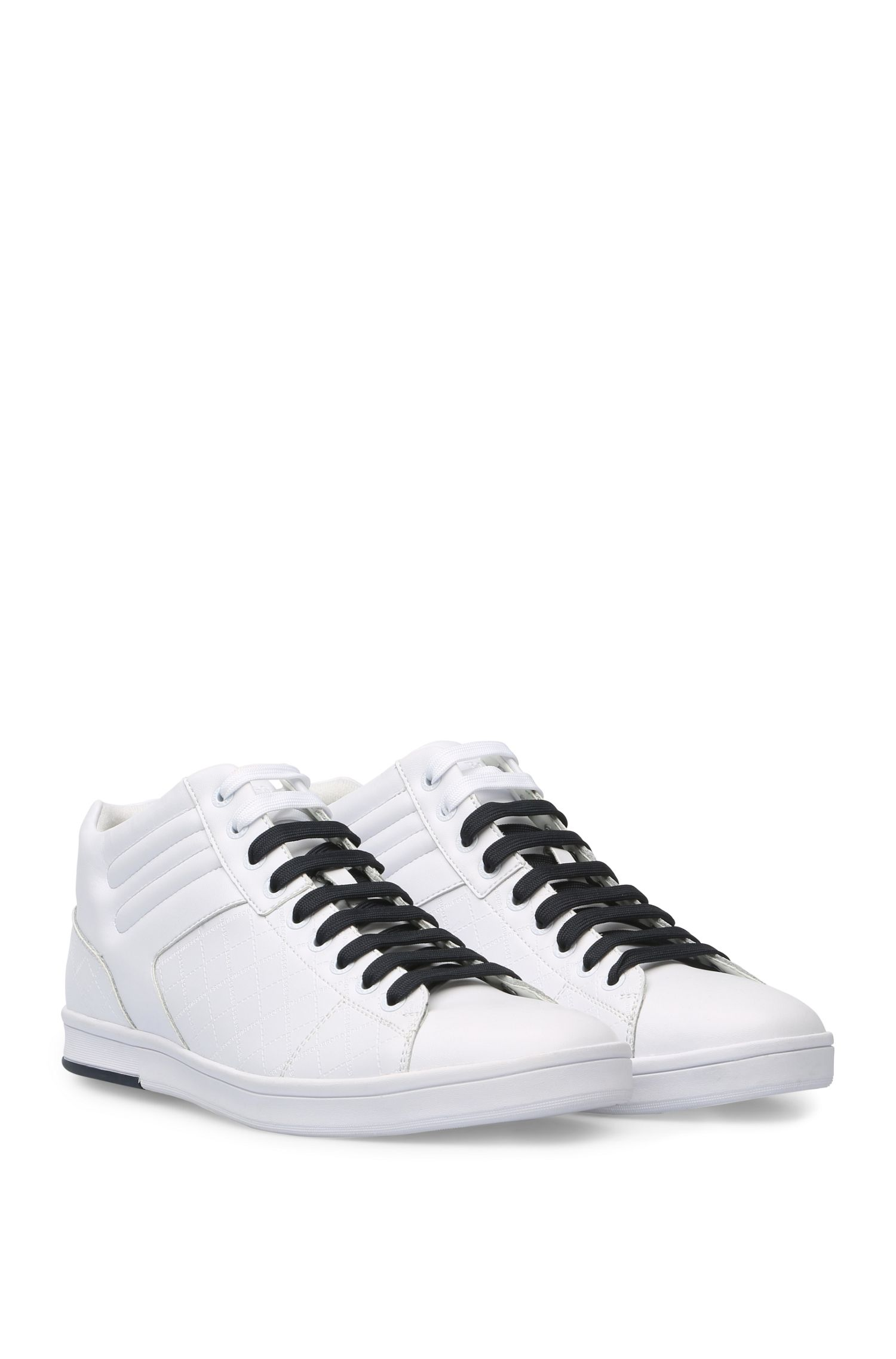 Leren sneakers met ingestanst logo: 'RayAdv_Midc_ltem'