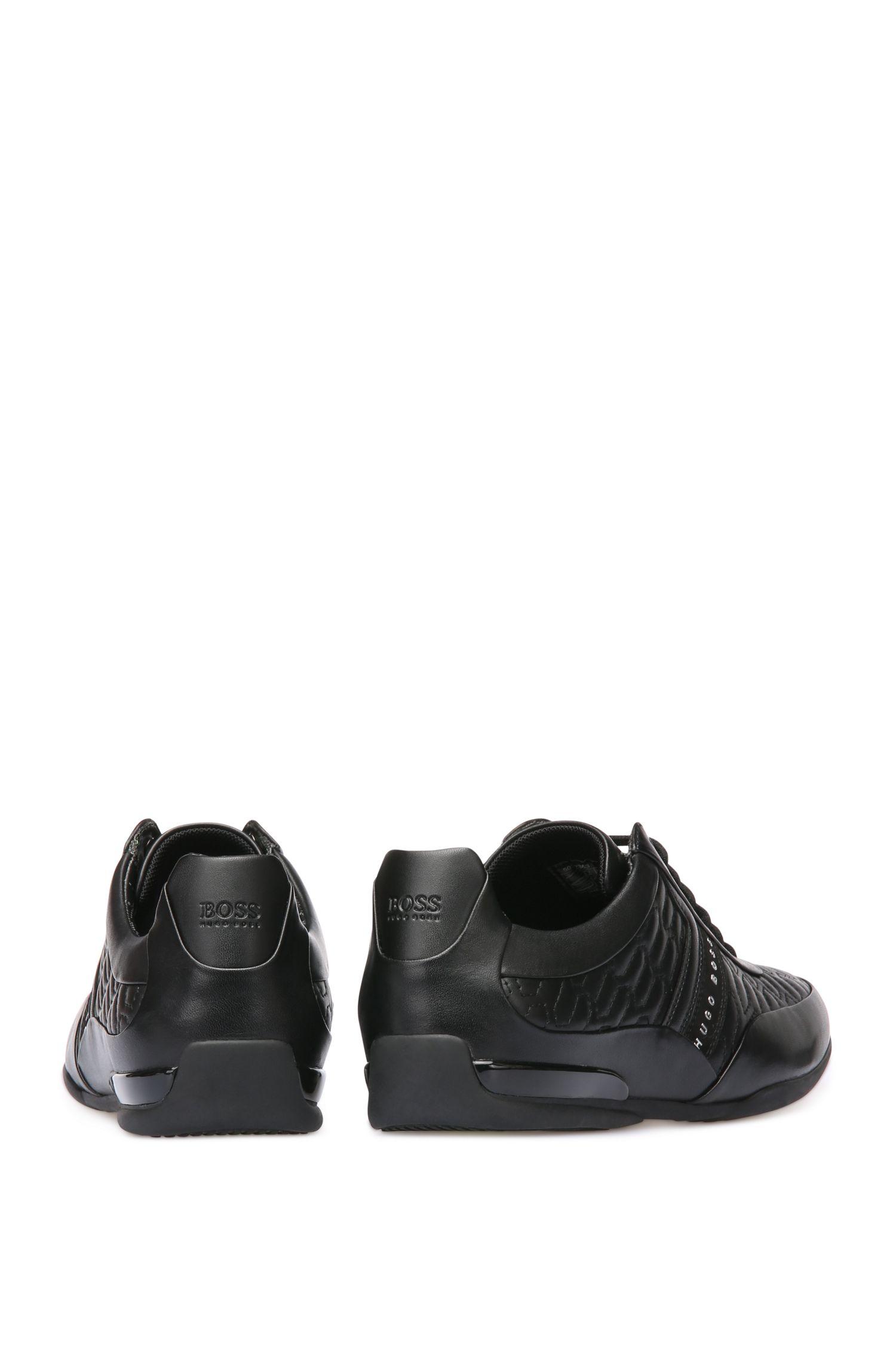 Sneakers van leer met siernaden: 'Space_Lowp_ltma'