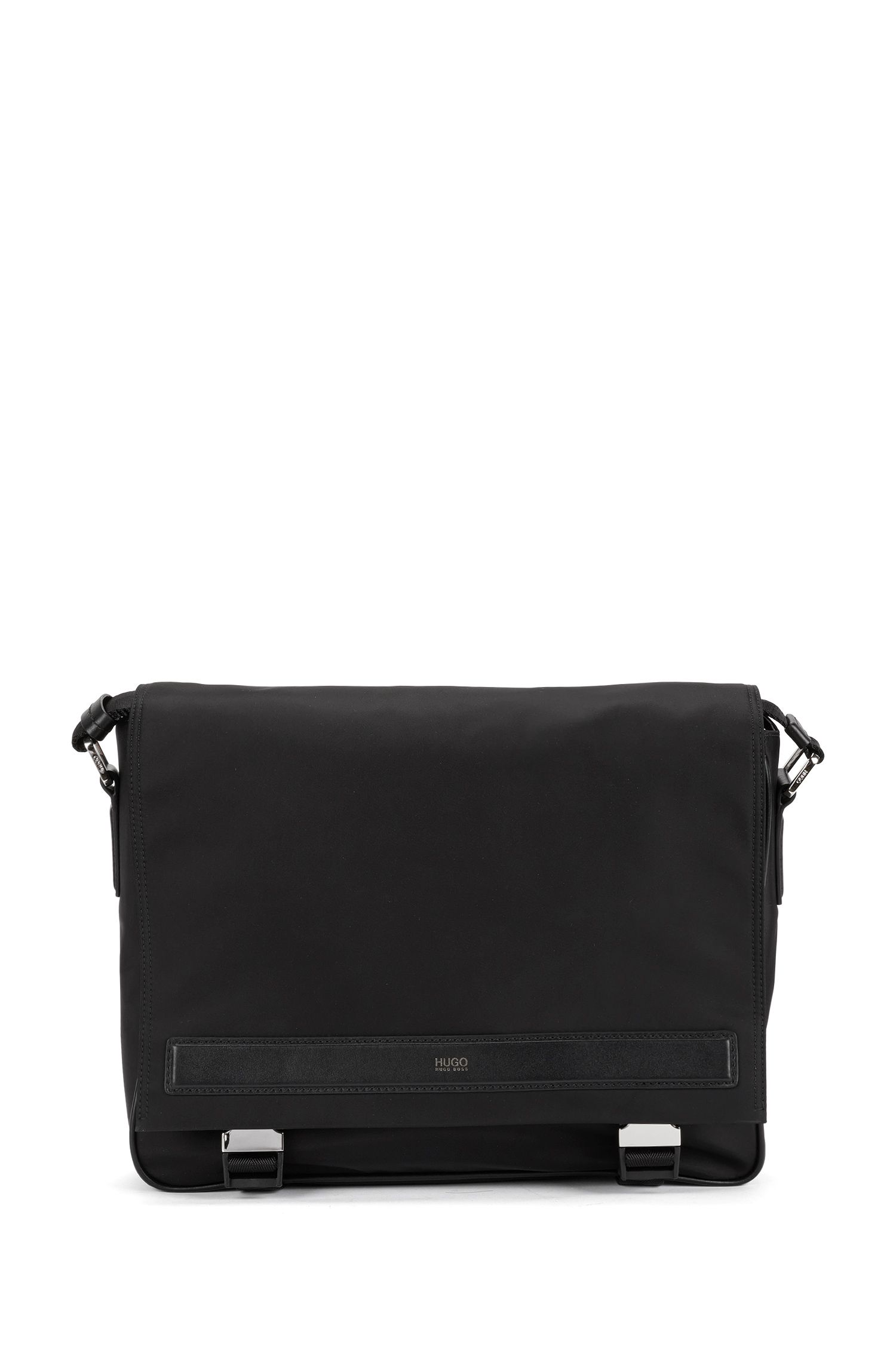 Shoulder bag with leather piping: 'Digital L_Mess_flap'