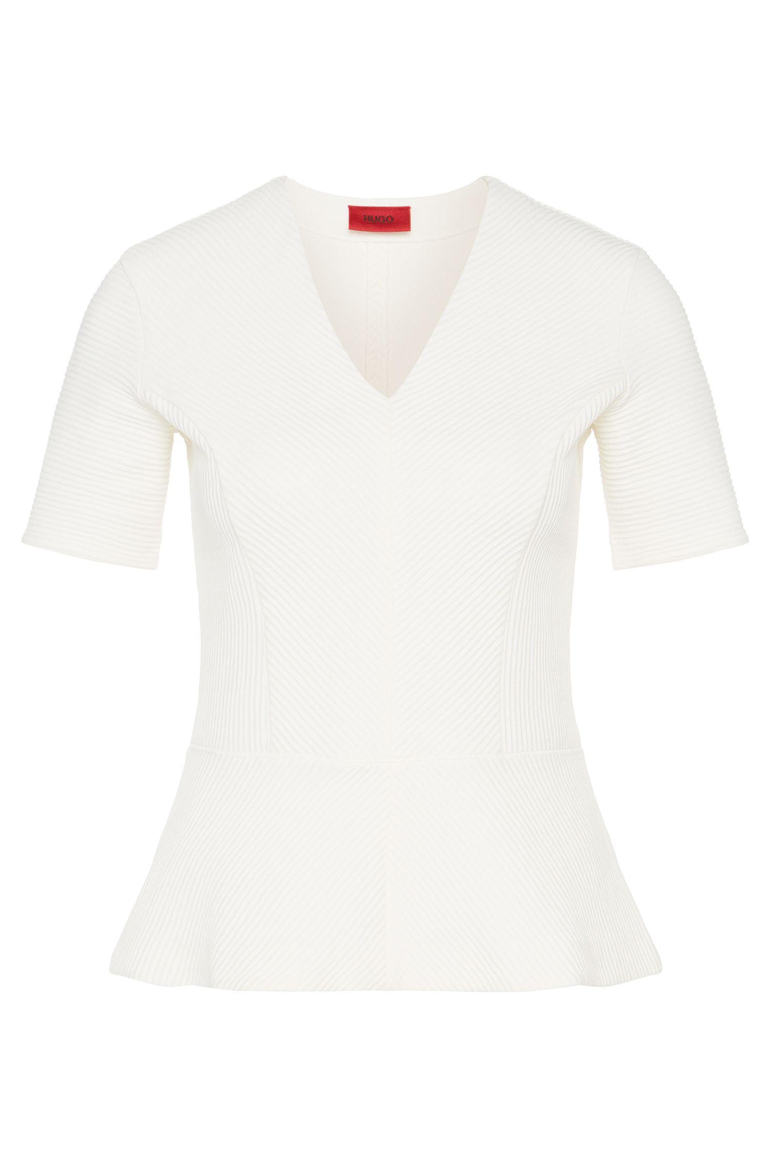 T-shirt van stretchkatoen met gevarieerde details van fijn ribtricot: 'Damaria'