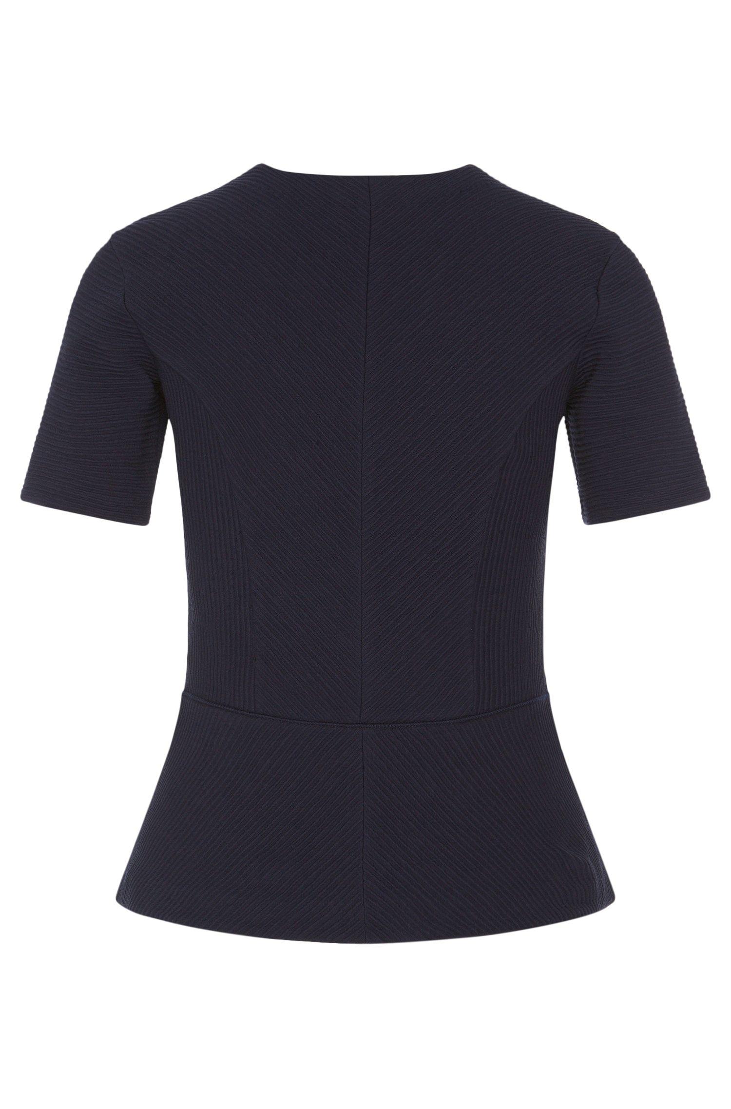 T-shirt en coton stretch orné de différents détails en fine maille côtelée: «Damaria»