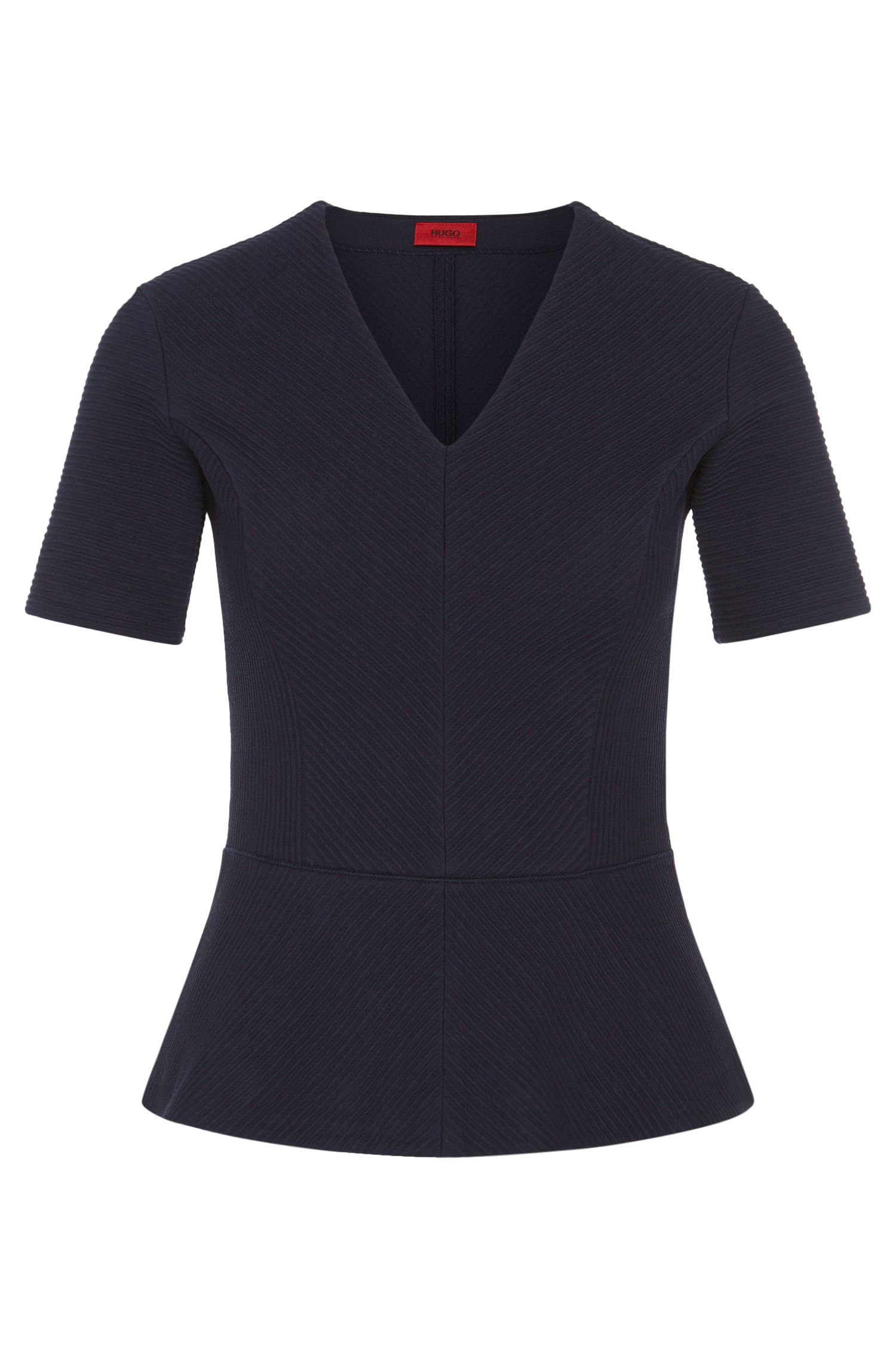 T-shirt in stretch cotton with varying details in fine ribbing: 'Damaria'