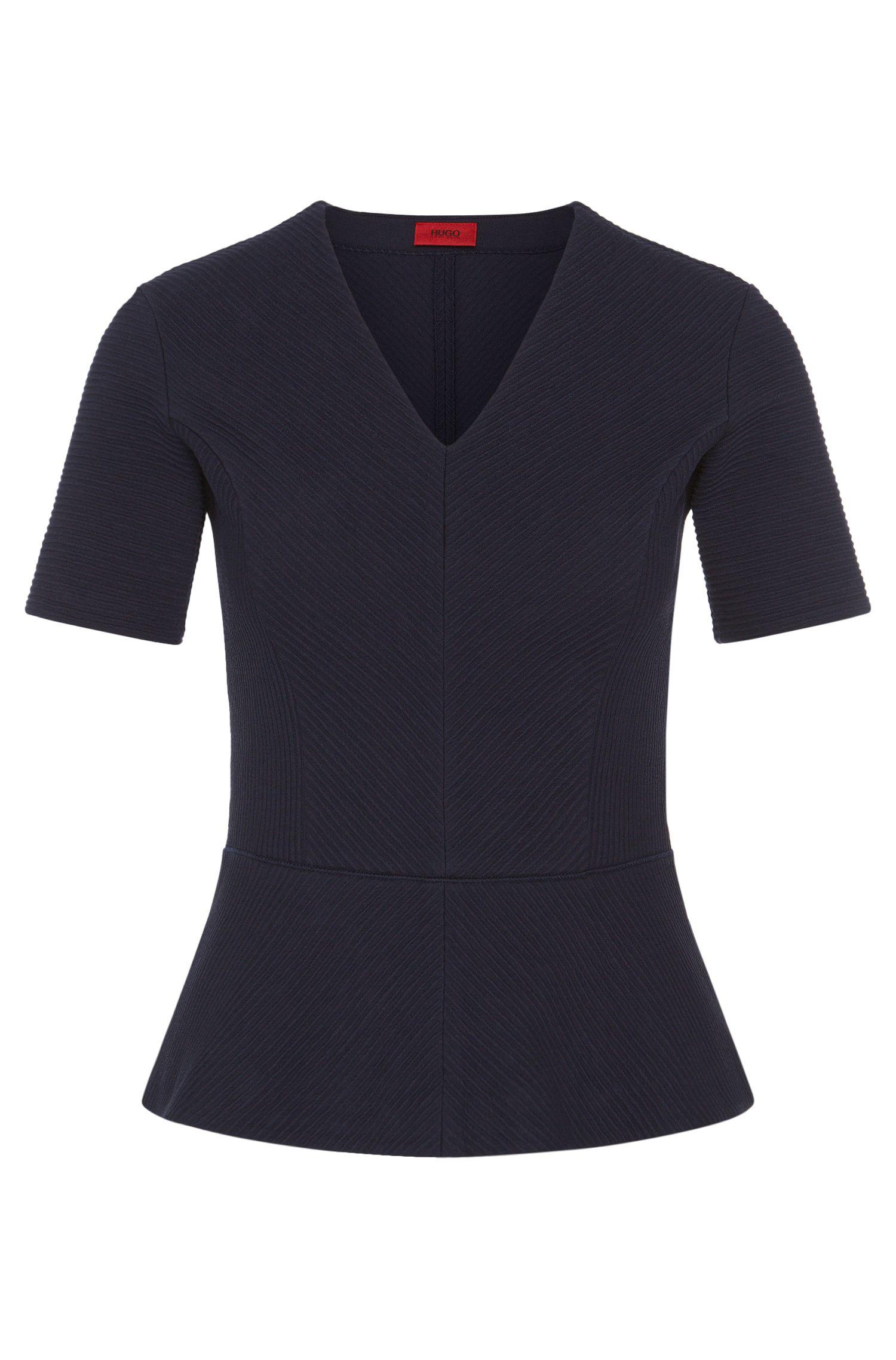 T-Shirt aus Stretch-Baumwolle mit variierenden Feinripp-Details: 'Damaria'