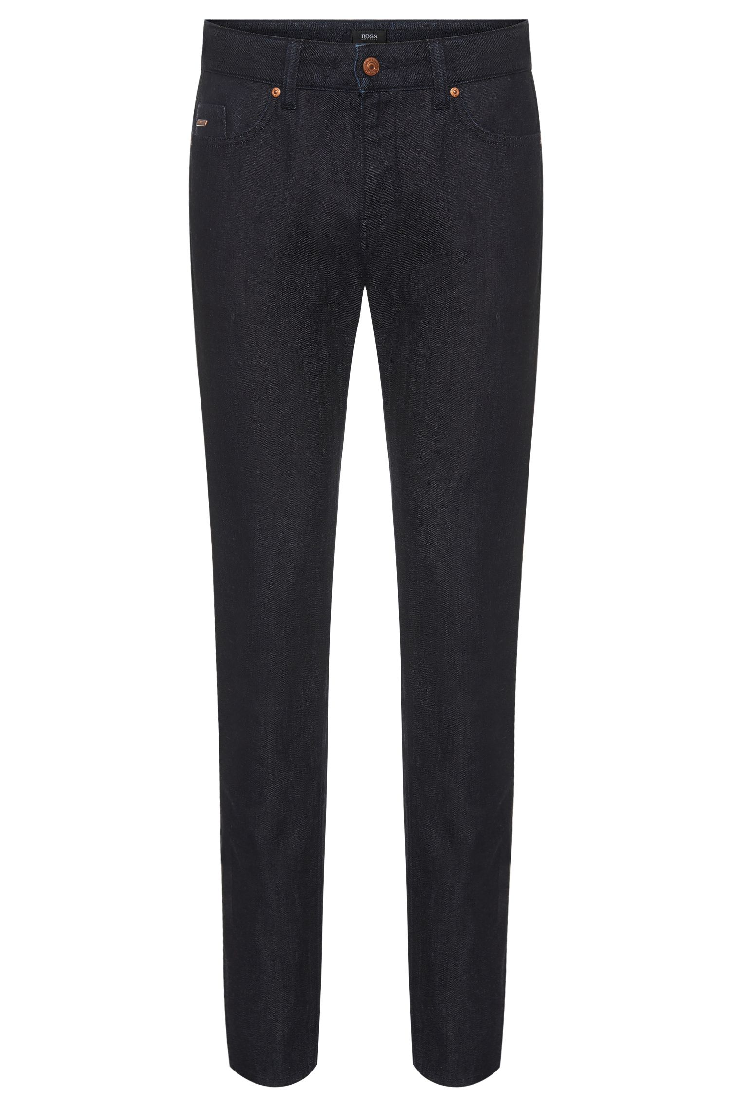 Slim-fit jeans in a cotton blend with wool in a rinsed look: 'Delaware3-1'